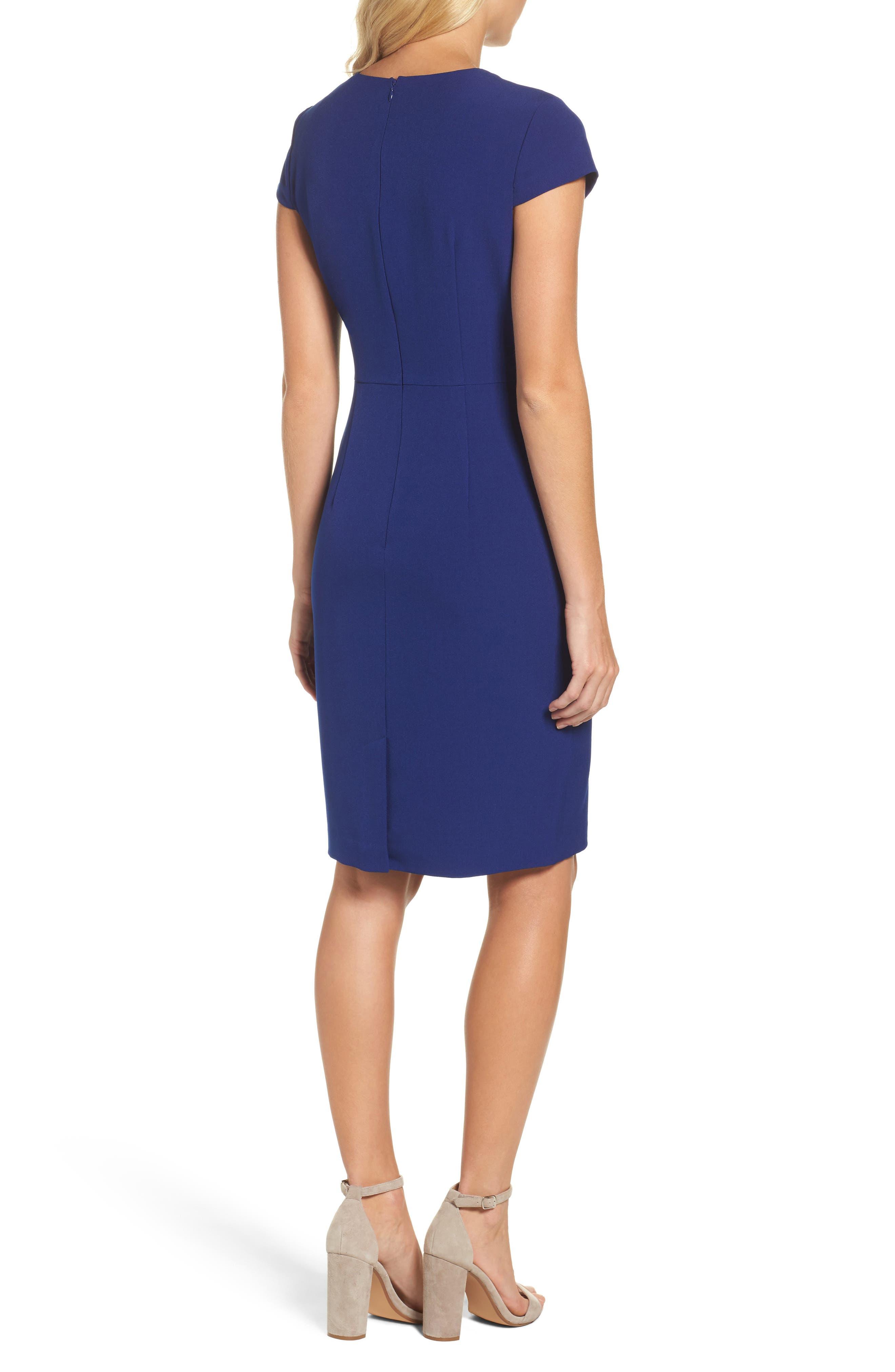 Alternate Image 2  - Adrianna Papell Crepe Sheath Dress (Regular & Petite)