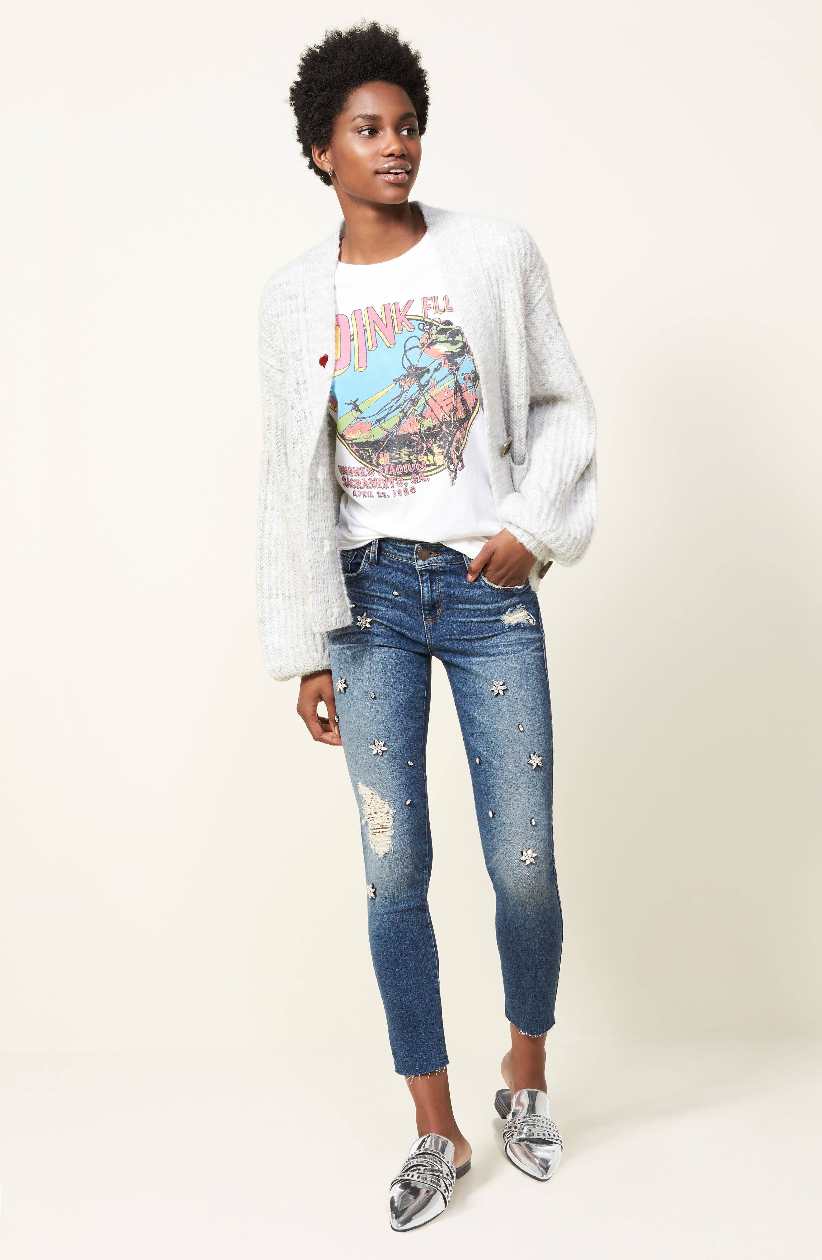 Taylor Jeweled Crop Straight Leg Jeans,                             Alternate thumbnail 7, color,                             East River View