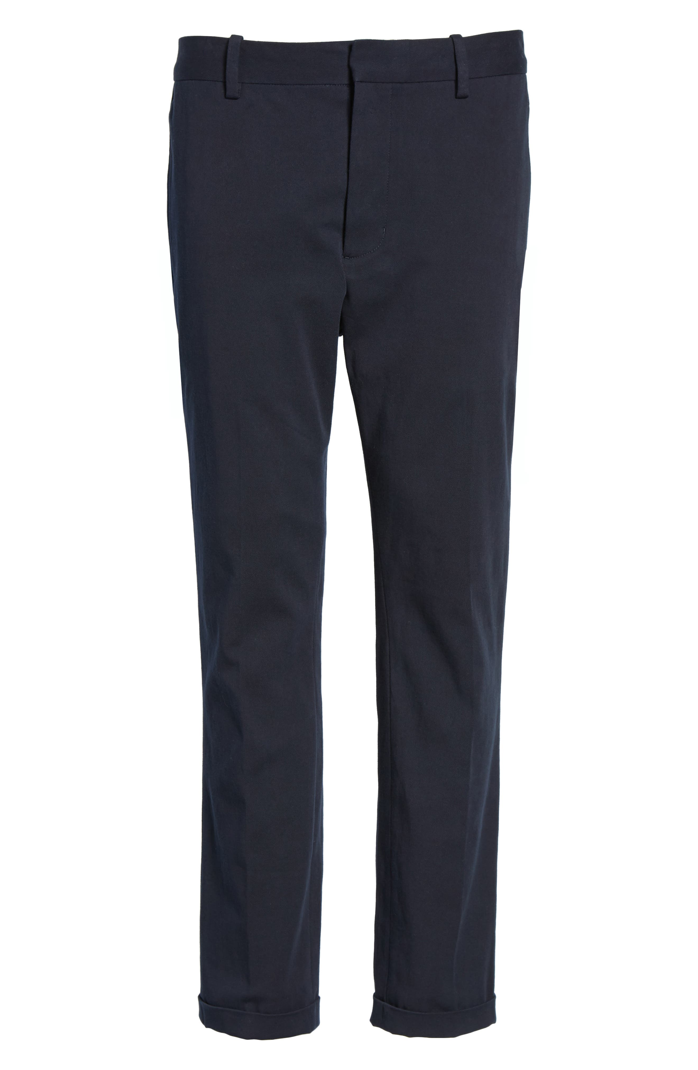 Cropped Slim Fit Trousers,                             Alternate thumbnail 5, color,                             Coastal