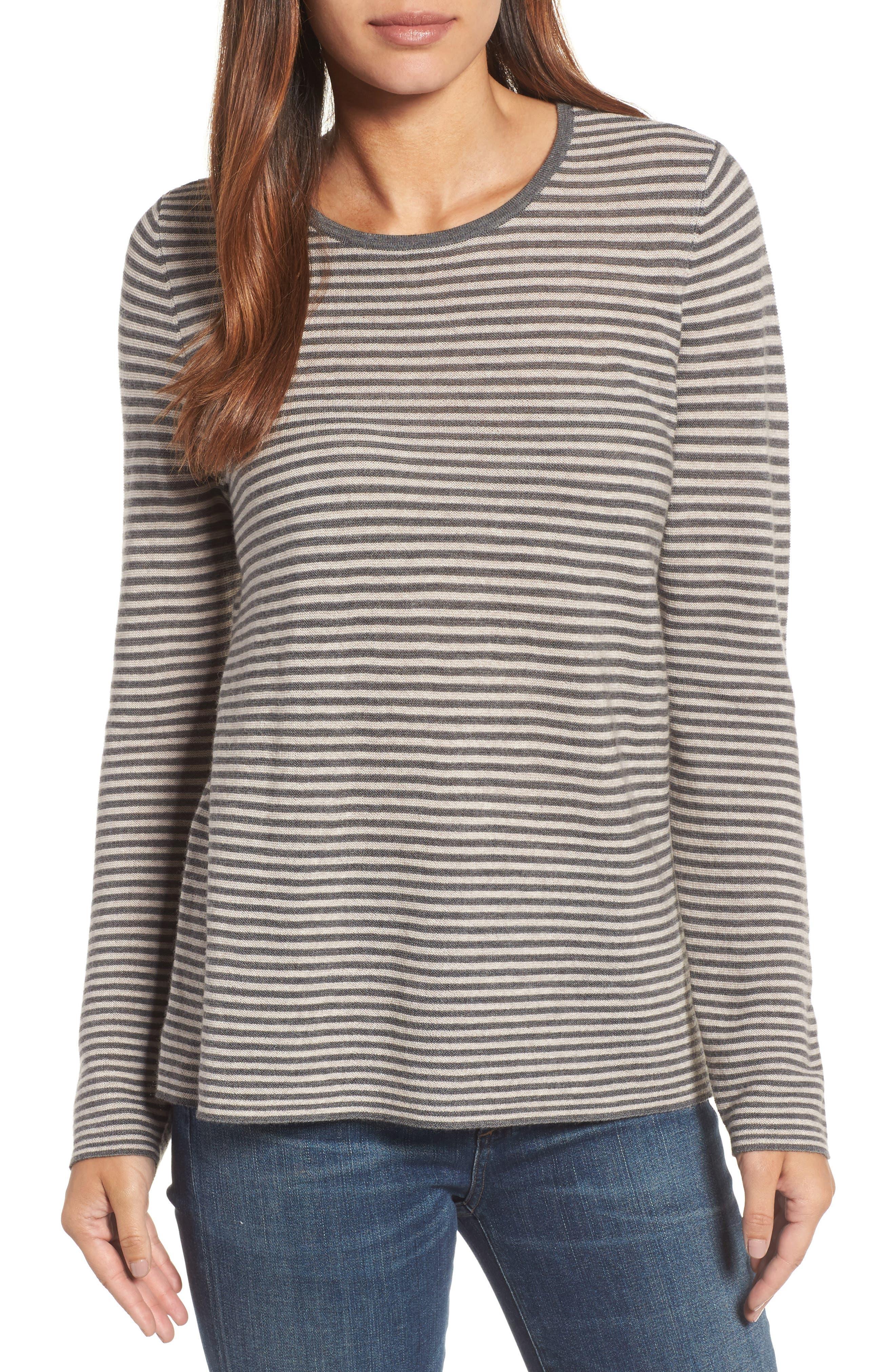 Stripe Merino Wool Sweater,                         Main,                         color, Ash
