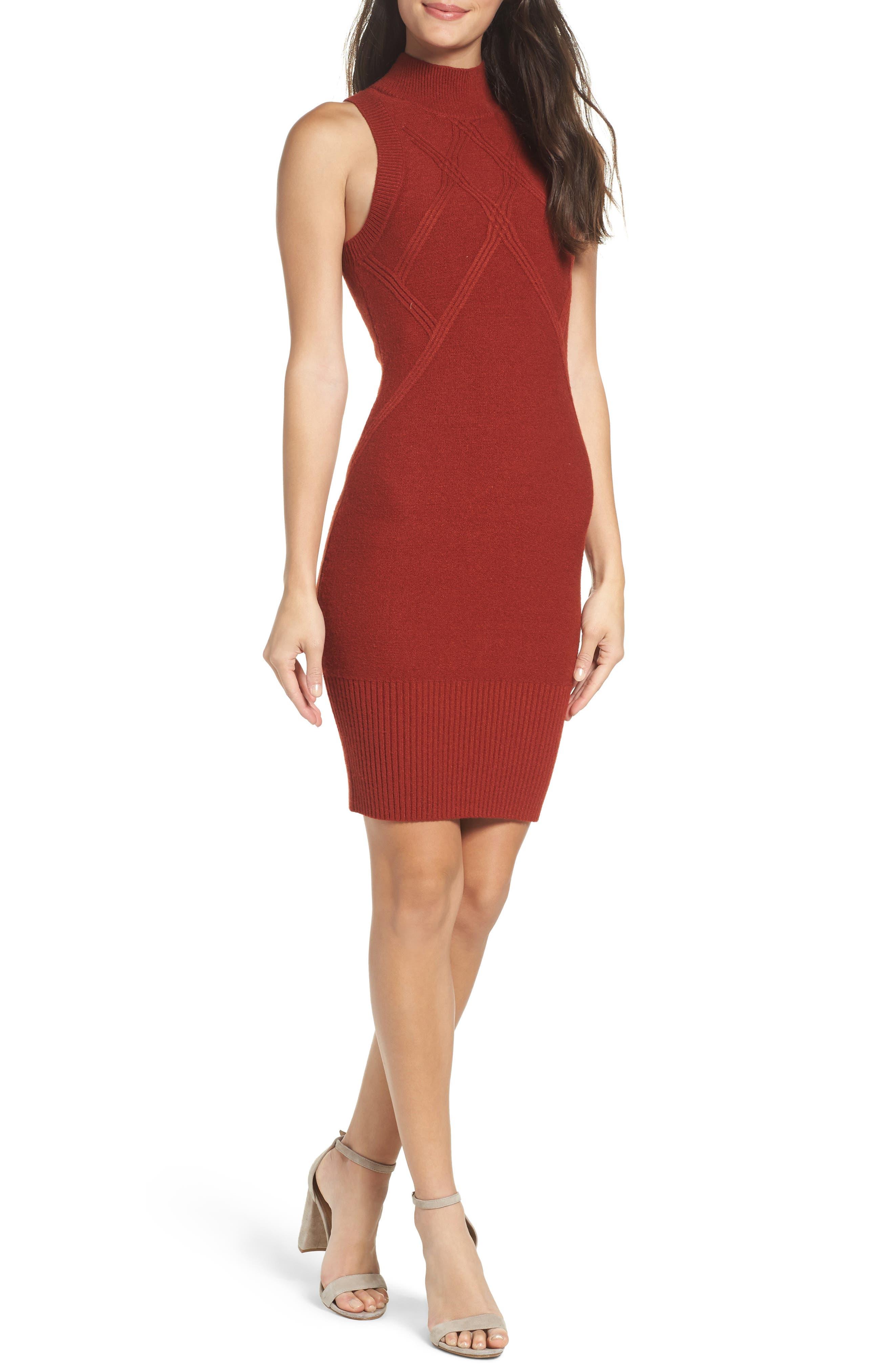 Body-Con Dress,                         Main,                         color, Rust