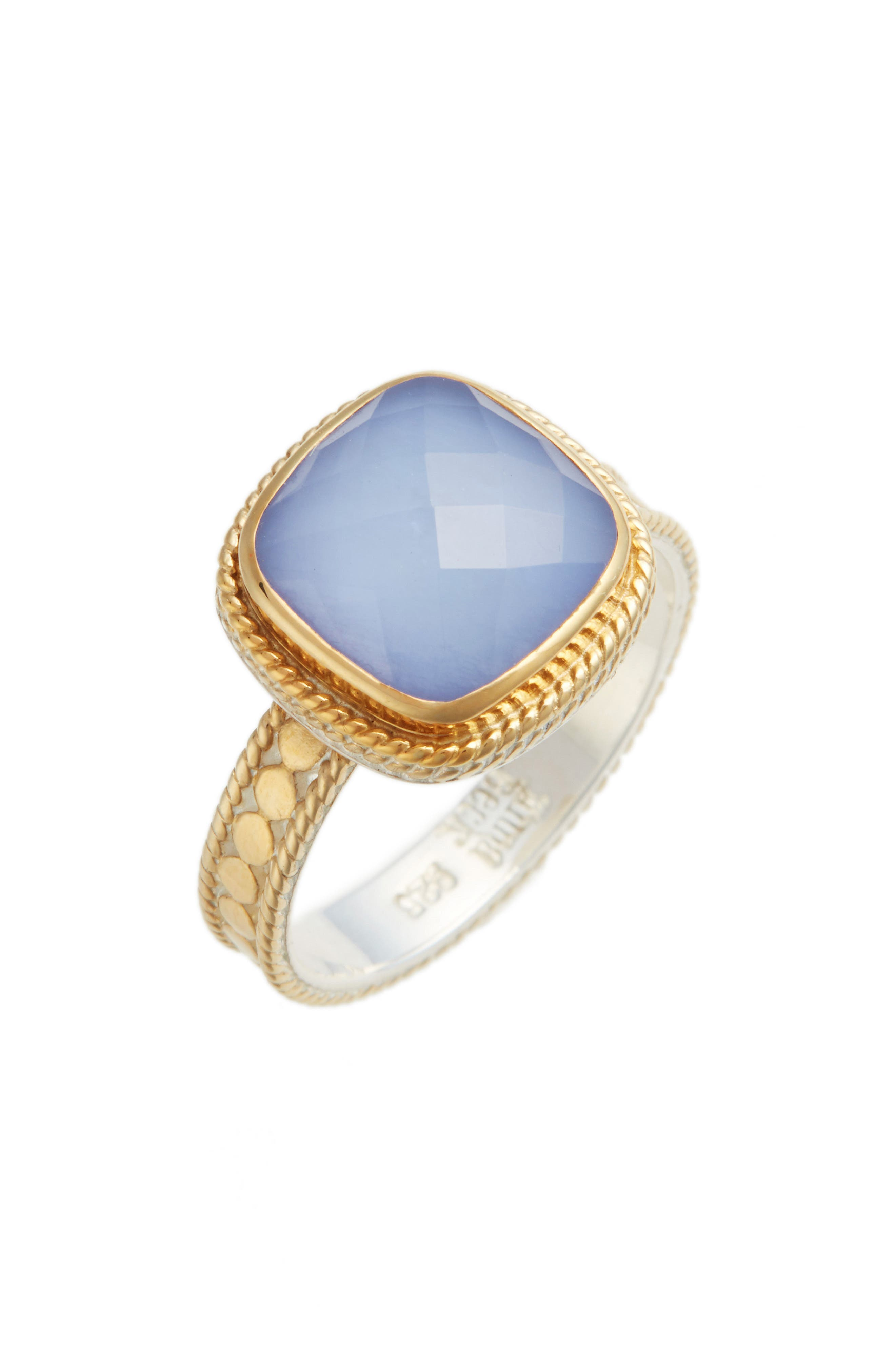 Blue Chalcedony Cushion Ring,                         Main,                         color, Gold/ Blue Chalcedony