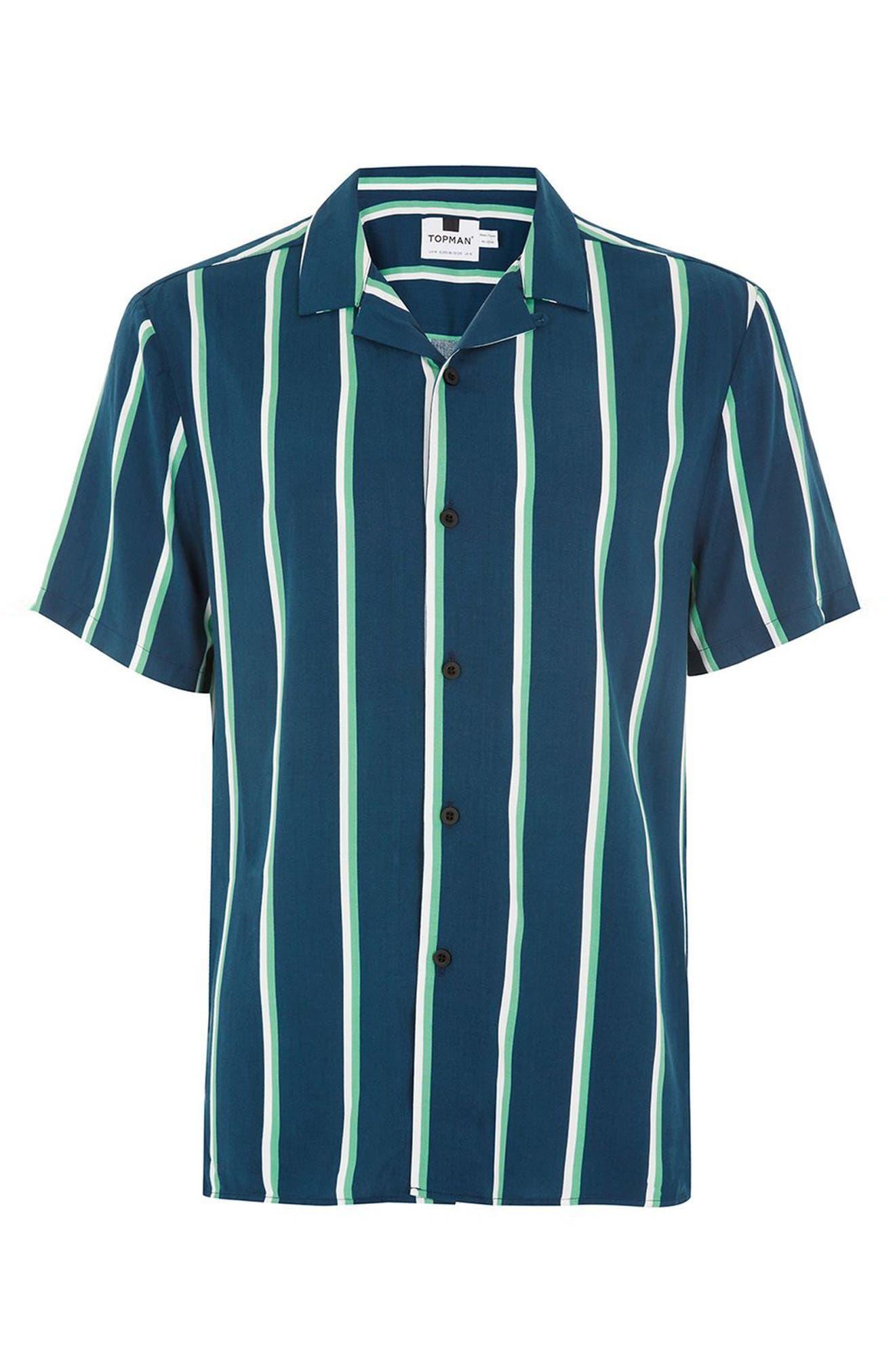 Alternate Image 5  - Topman Stripe Revere Collar Shirt