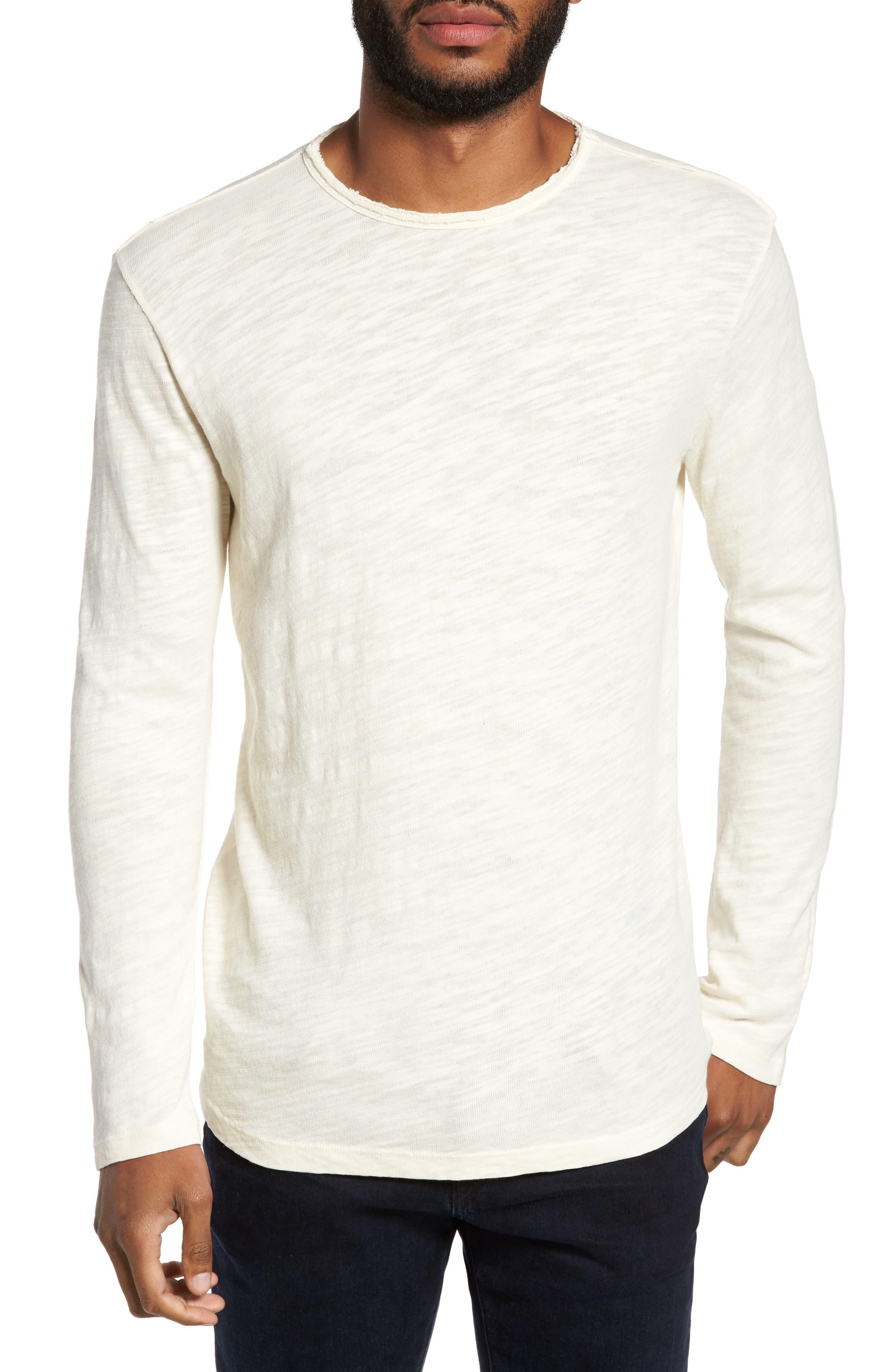 Slub Long Sleeve T-Shirt,                         Main,                         color, Ecru
