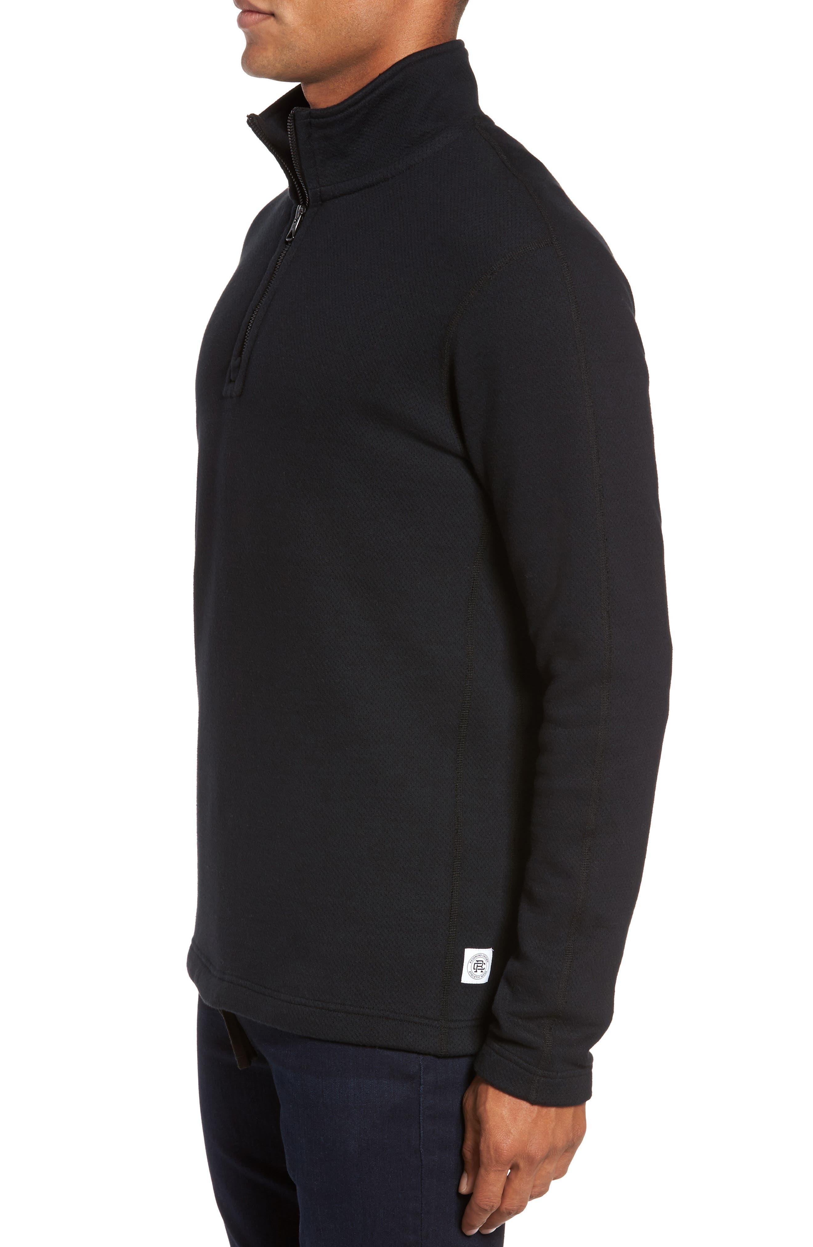 Mesh Half Zip Fleece Top,                             Alternate thumbnail 3, color,                             Black