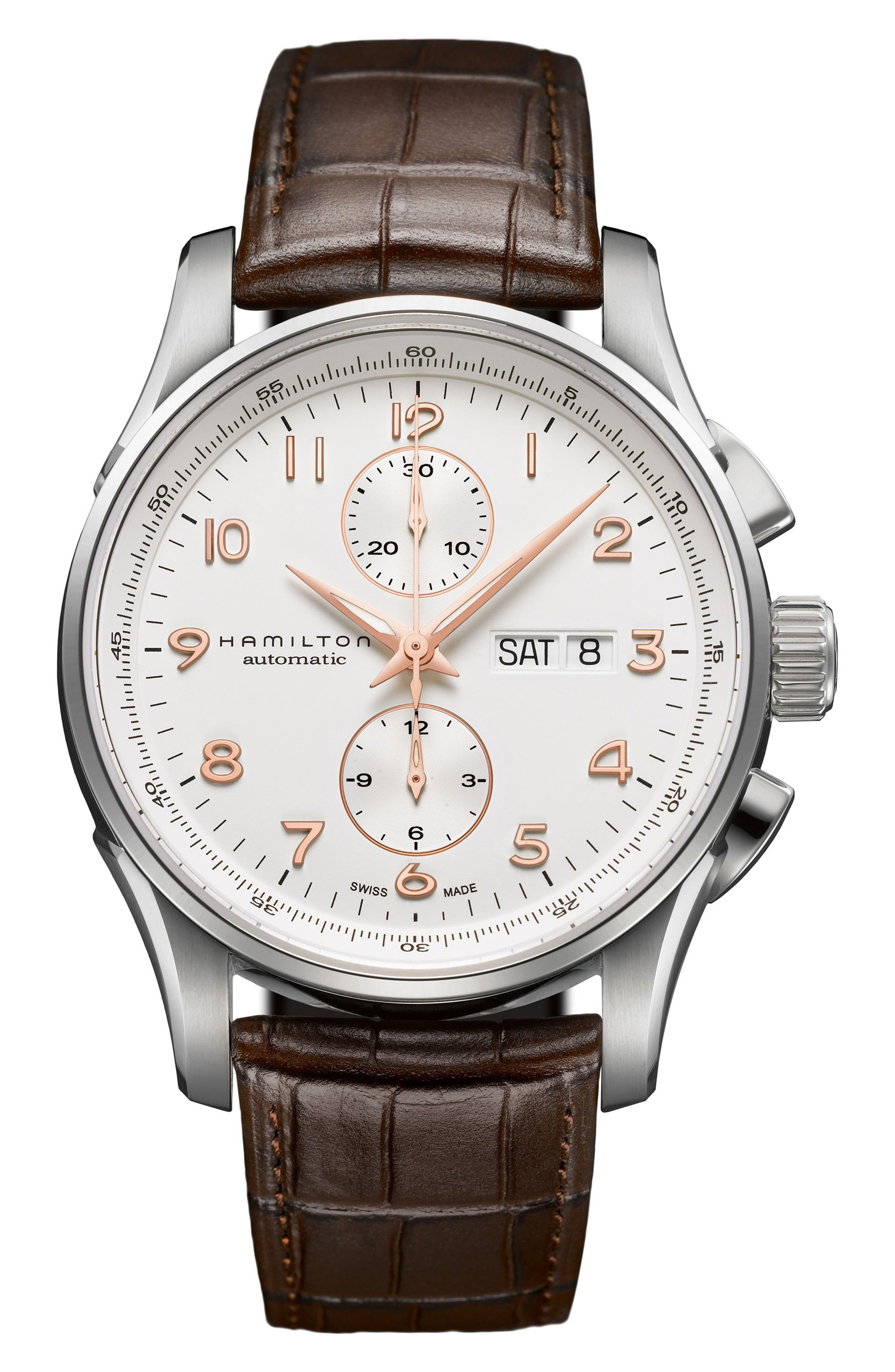 Jazzmaster Maestro Automatic Chronograph Leather Strap Watch, 41mm,                         Main,                         color, Brown/ White/ Silver