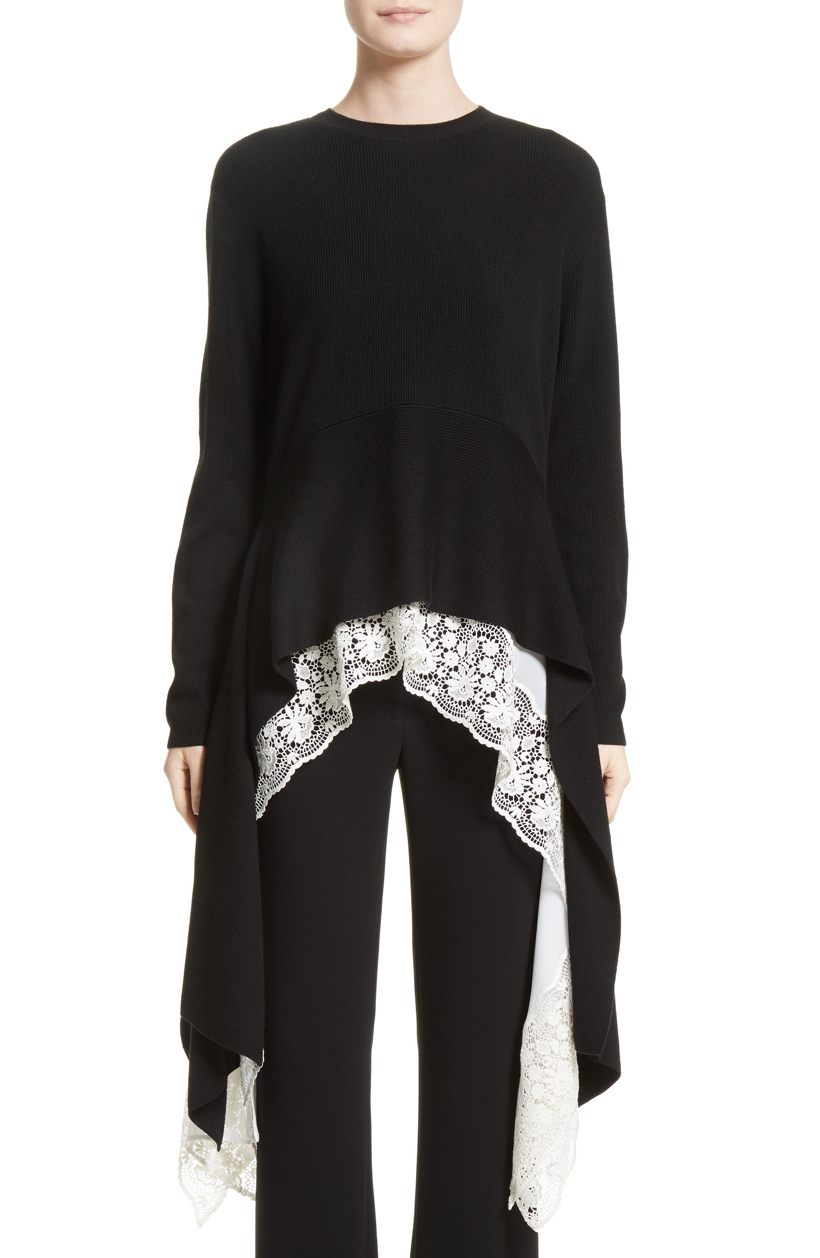Sharkbite Hem Sweater,                         Main,                         color, Black