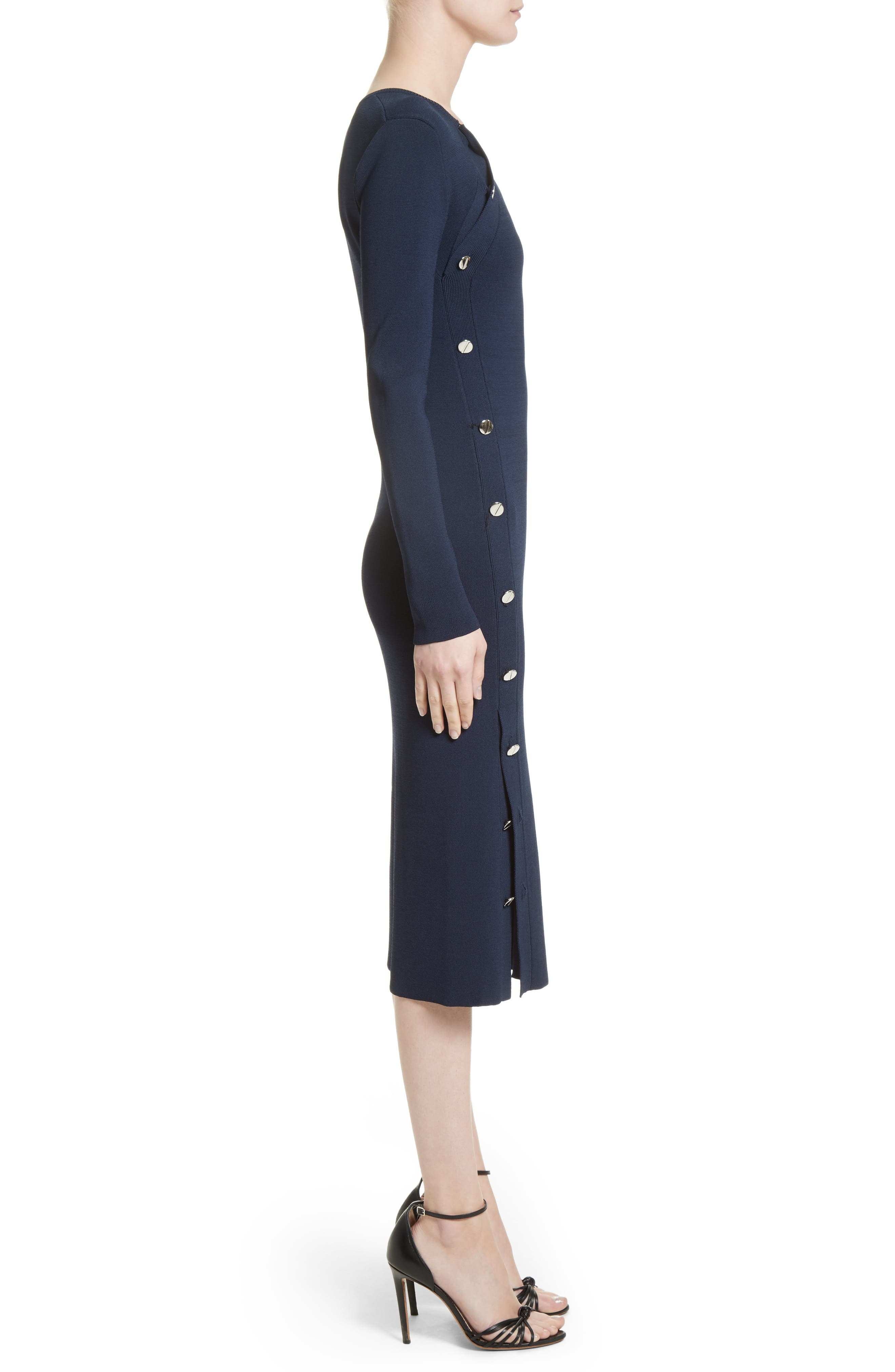 Button Detail Knit Dress,                             Alternate thumbnail 3, color,                             Navy