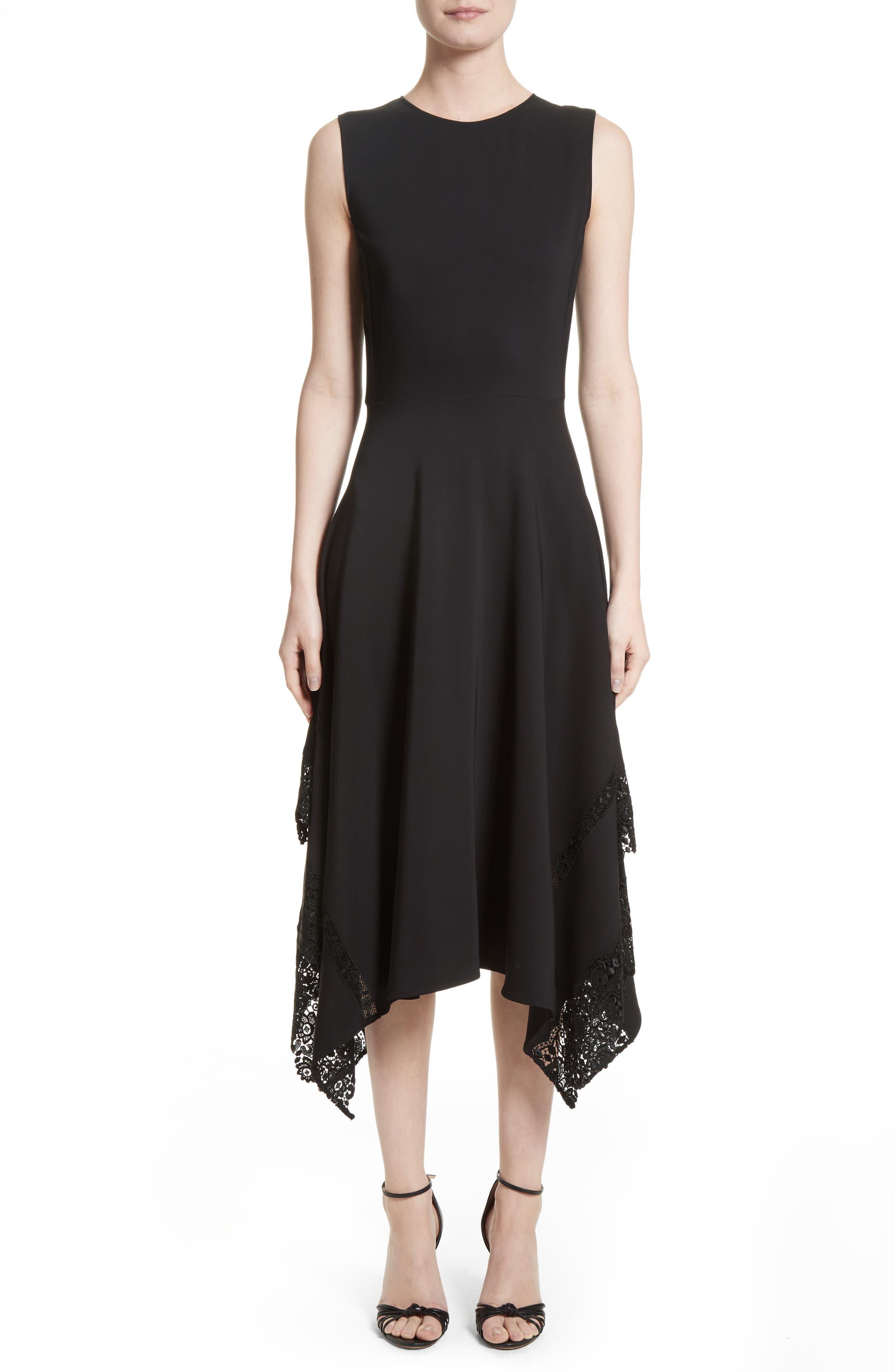 Lace Hem Midi Dress,                             Main thumbnail 1, color,                             Black
