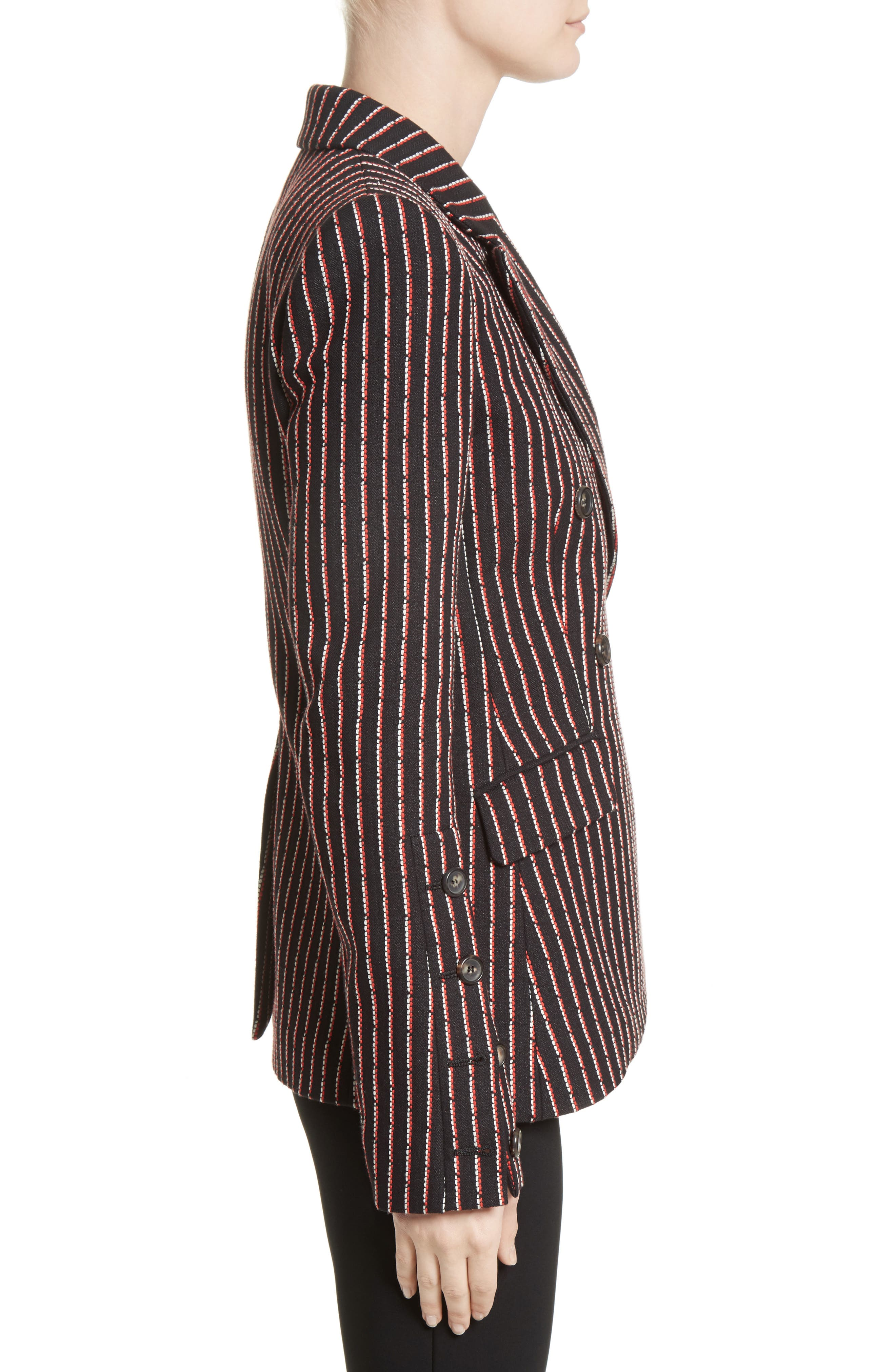Pinstripe Double Breasted Blazer,                             Alternate thumbnail 3, color,                             Black White Persimmon