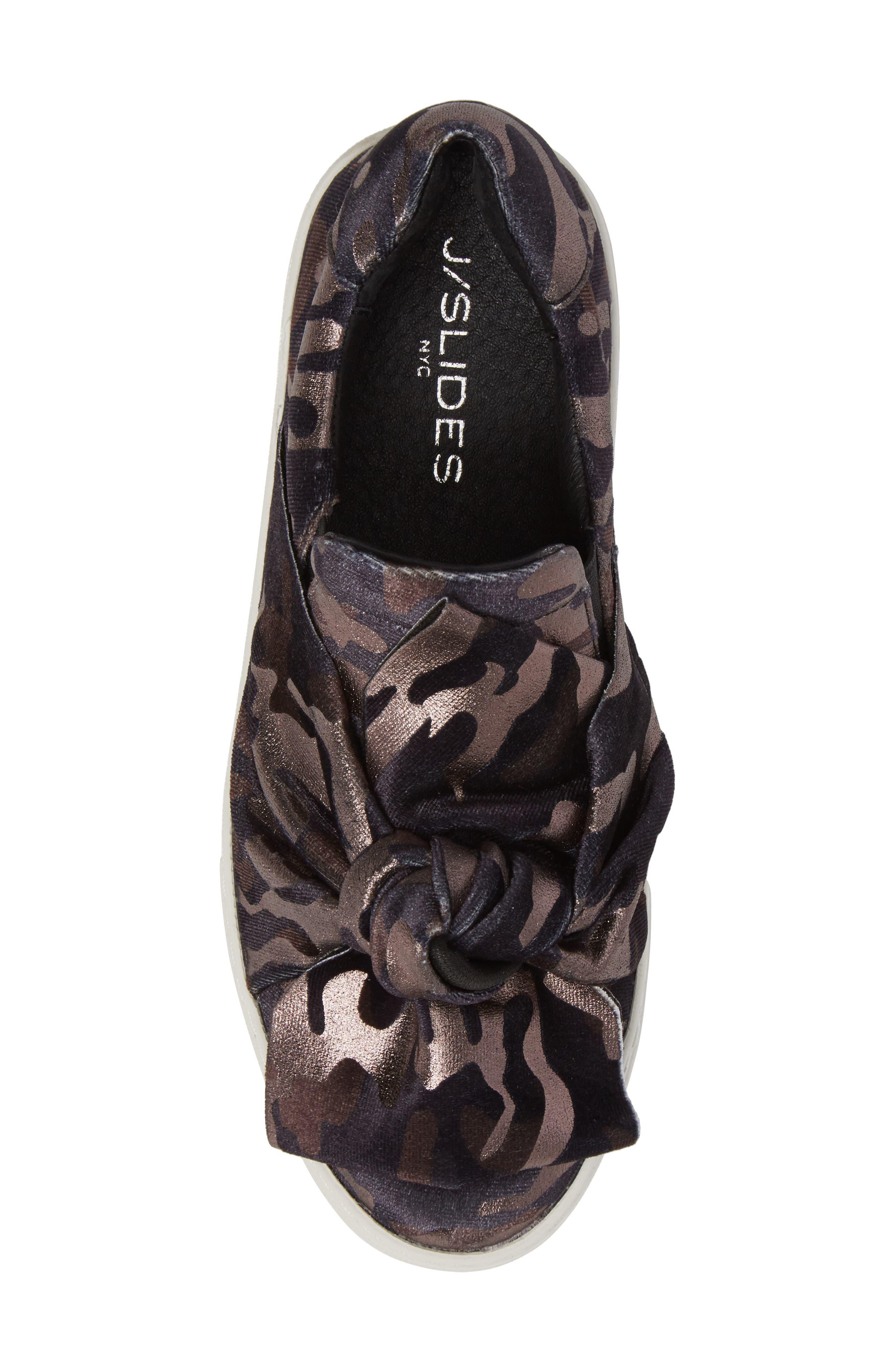 Audra Slip-On Sneaker,                             Alternate thumbnail 5, color,                             Black Camo Fabric
