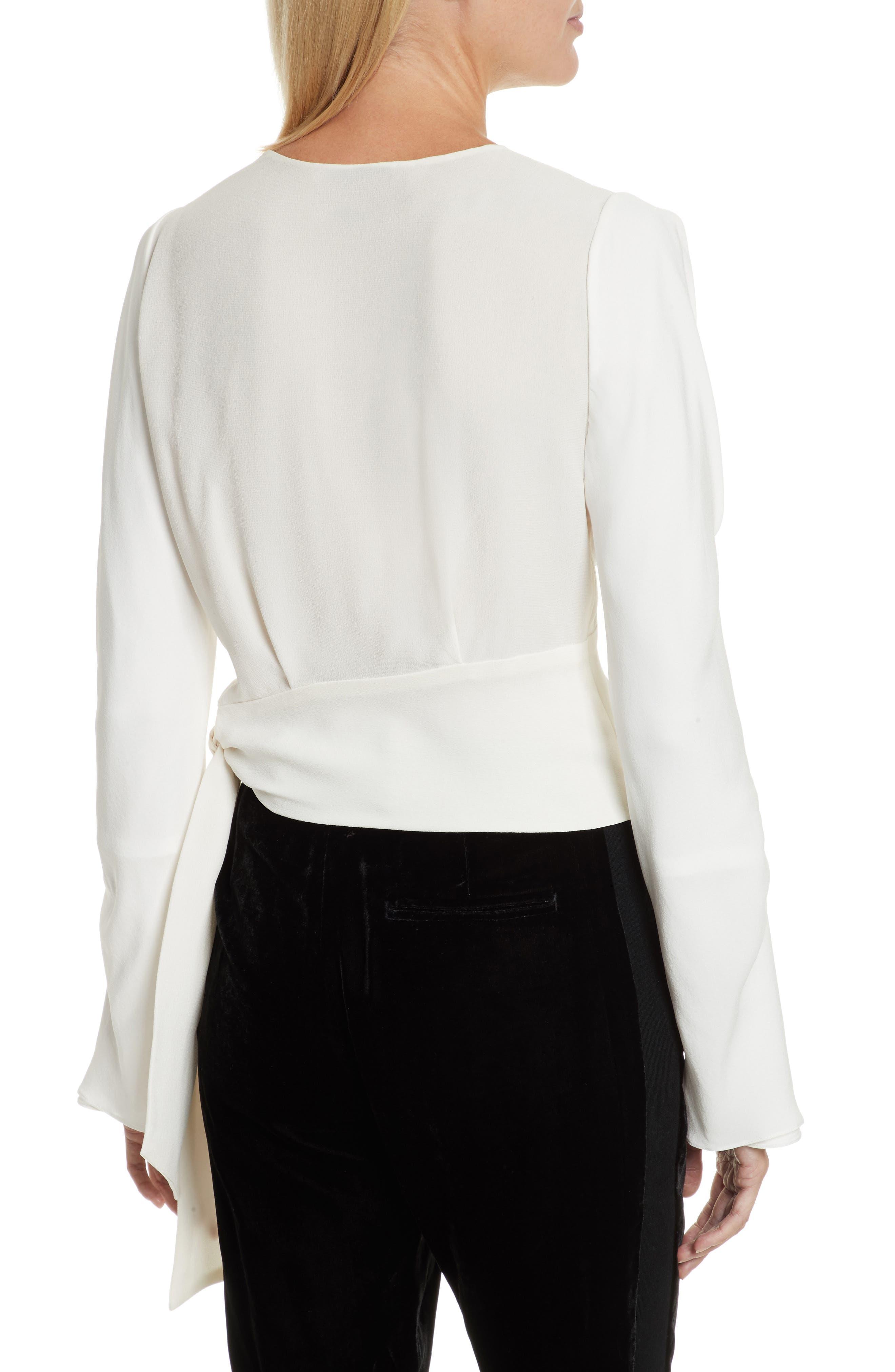 Slit Sleeve Silk Blouse,                             Alternate thumbnail 2, color,                             Antique White