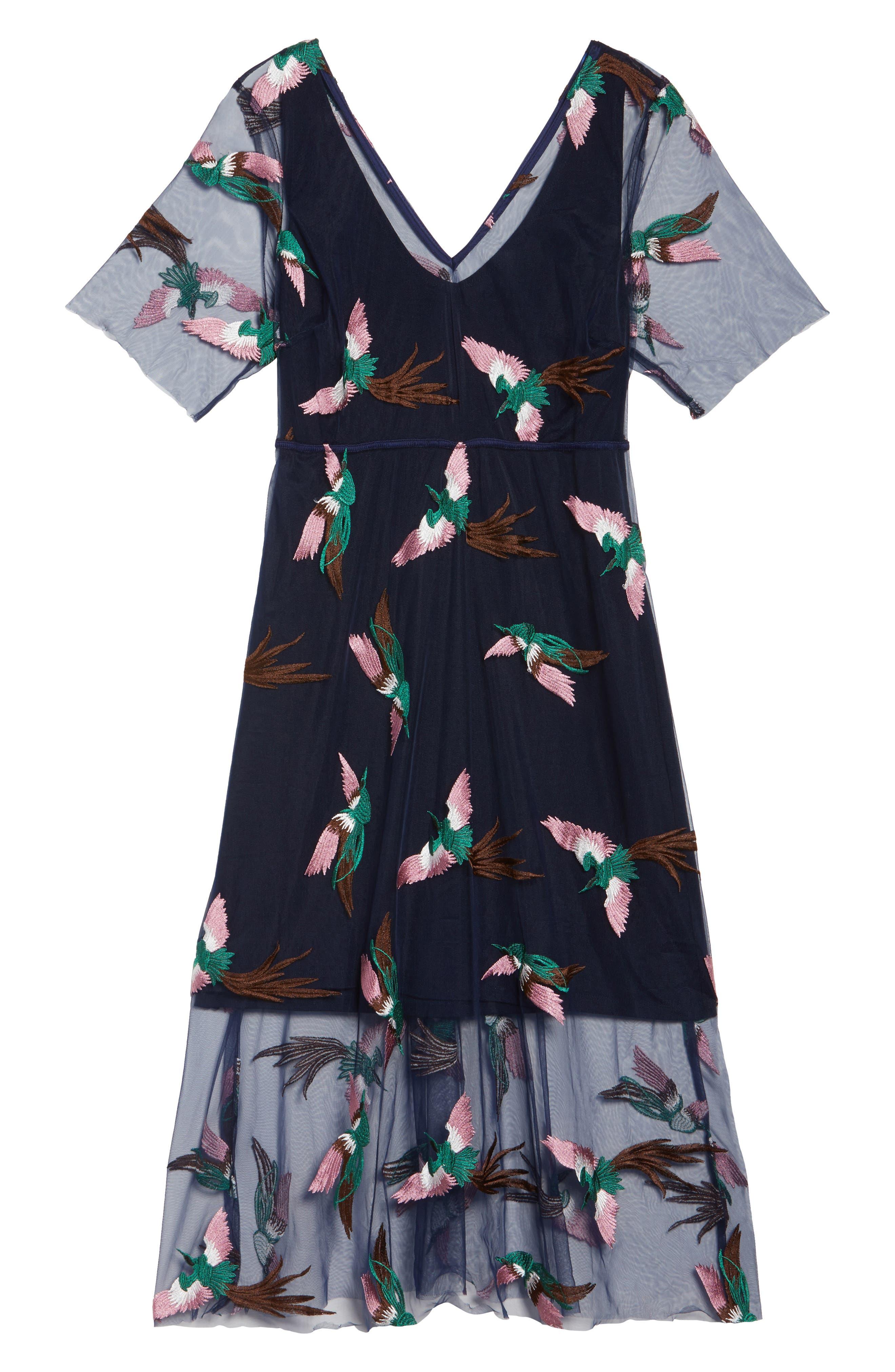 Alternate Image 6  - ELVI Blue Peacock Dress (Plus Size)