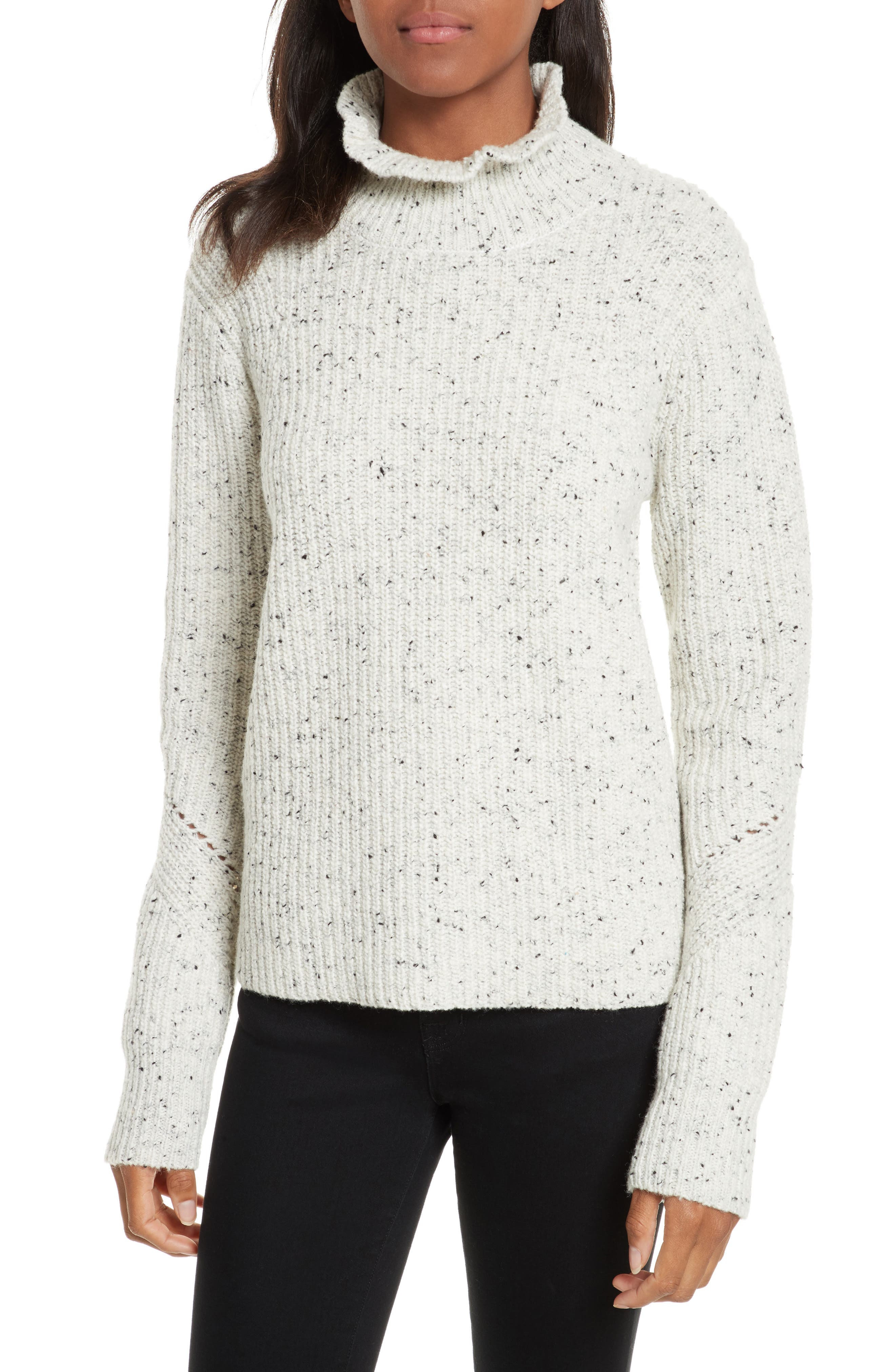Adaliz Ribbed Ruffle Neck Sweater,                             Main thumbnail 1, color,                             Porcelain