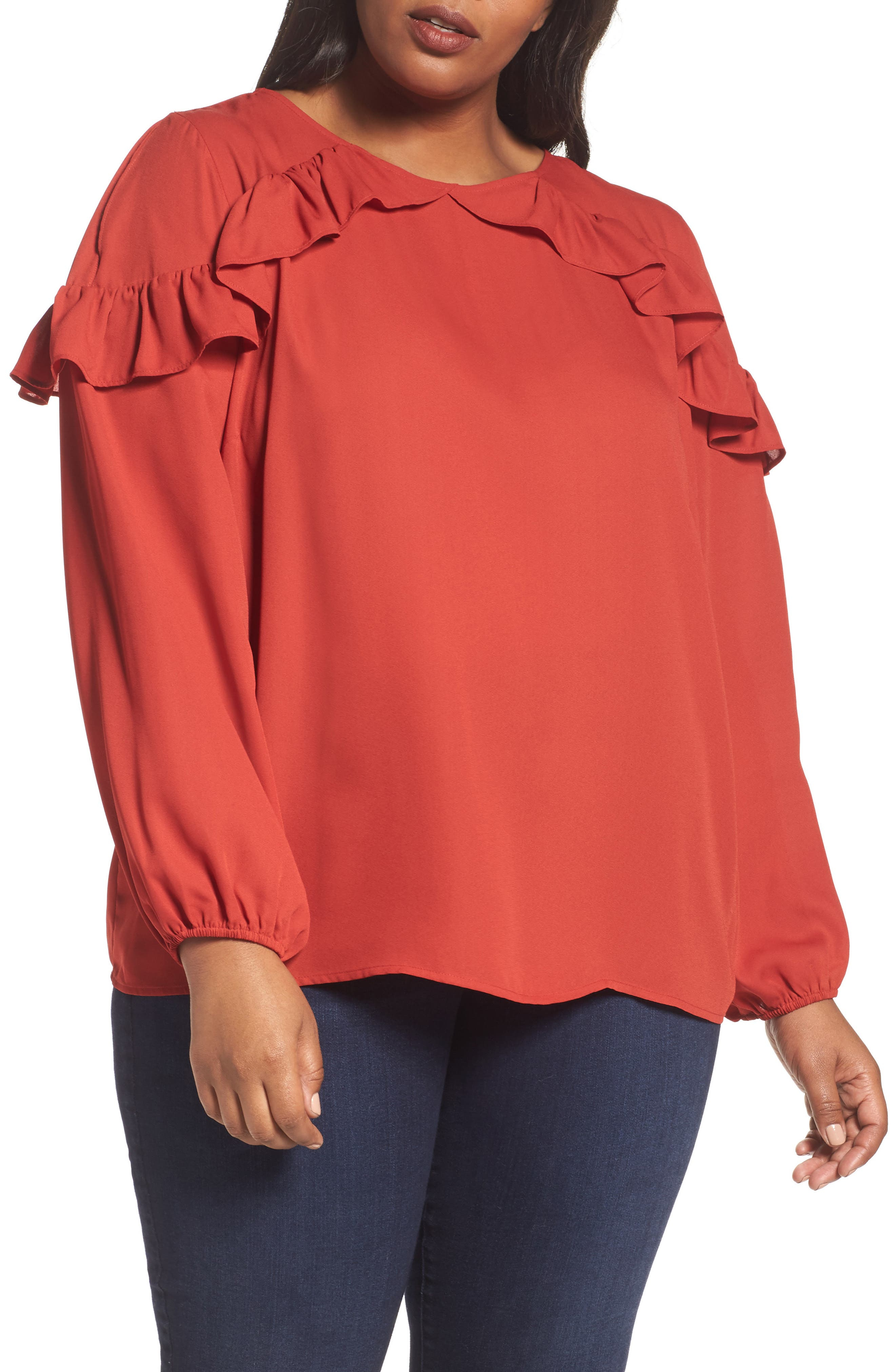 London Times Ruffle Cold Shoulder Top (Plus Size)
