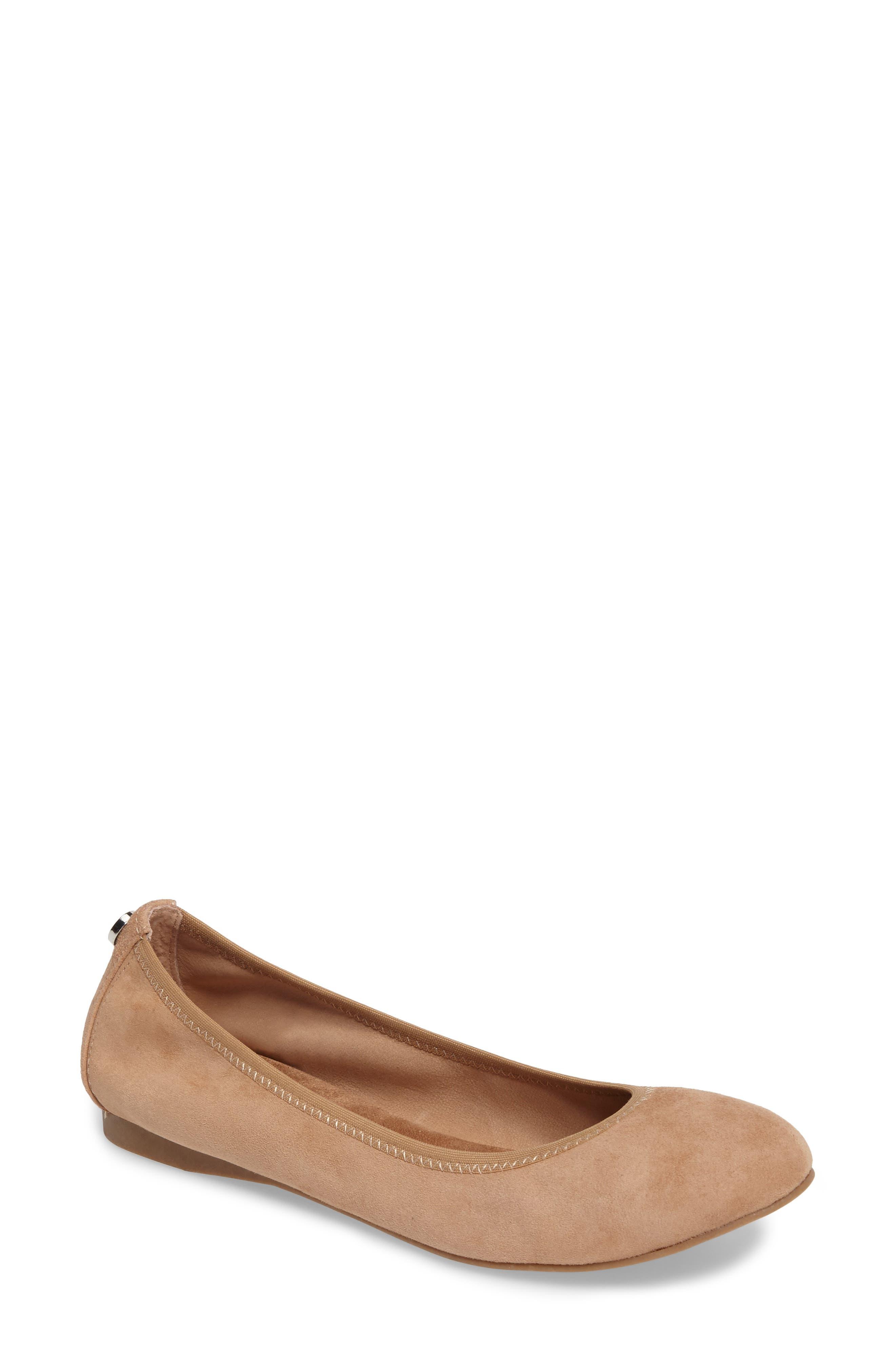 Bonnie Ballet Flat,                         Main,                         color, Camel Suede