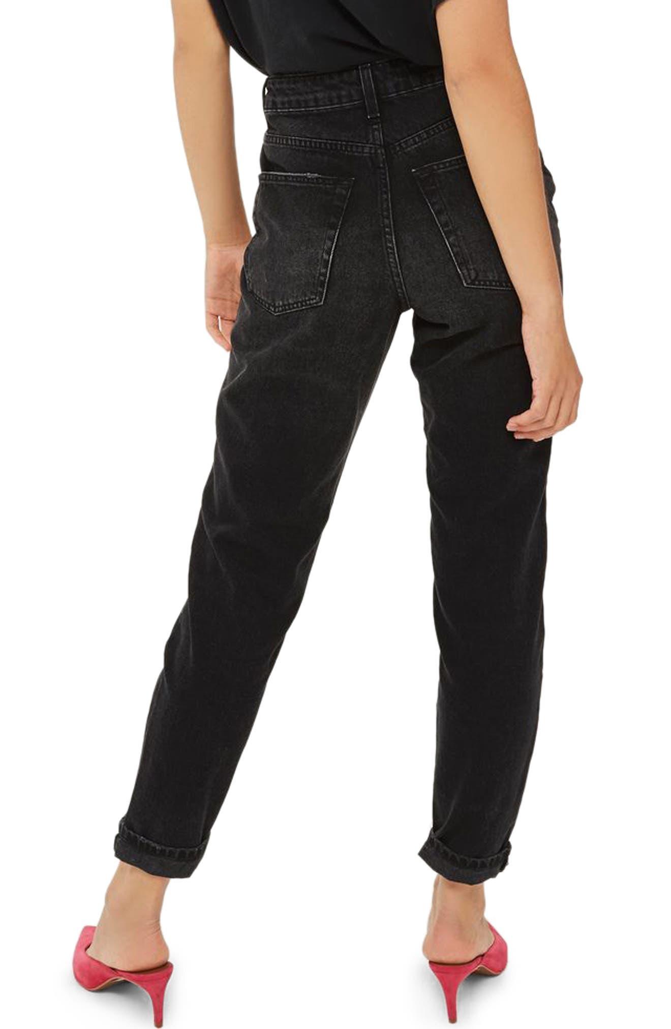 Mom Jeans,                             Alternate thumbnail 3, color,                             Washed Black