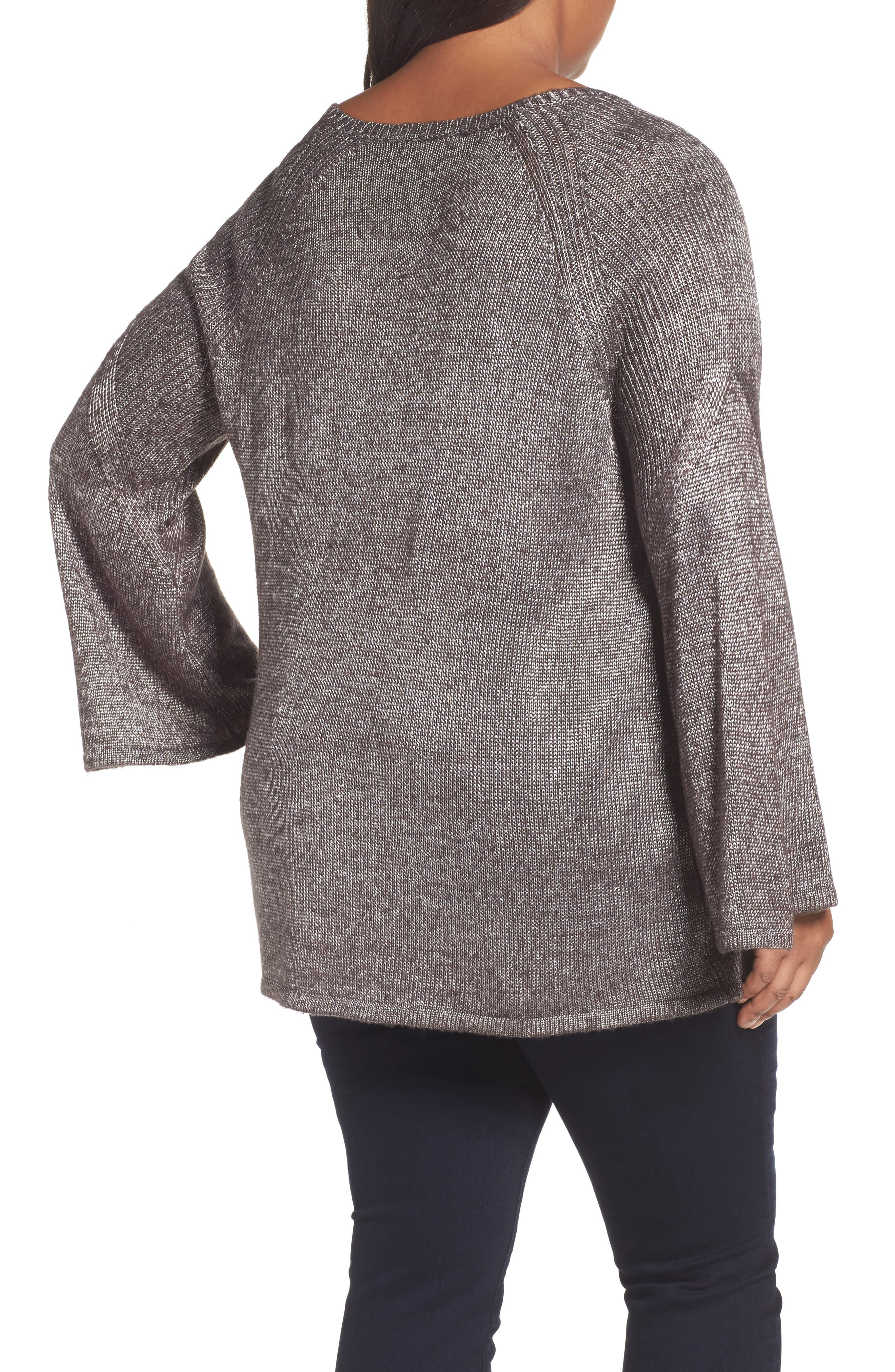 Bell Sleeve Sweater,                             Alternate thumbnail 2, color,                             Black- Silver Metallic