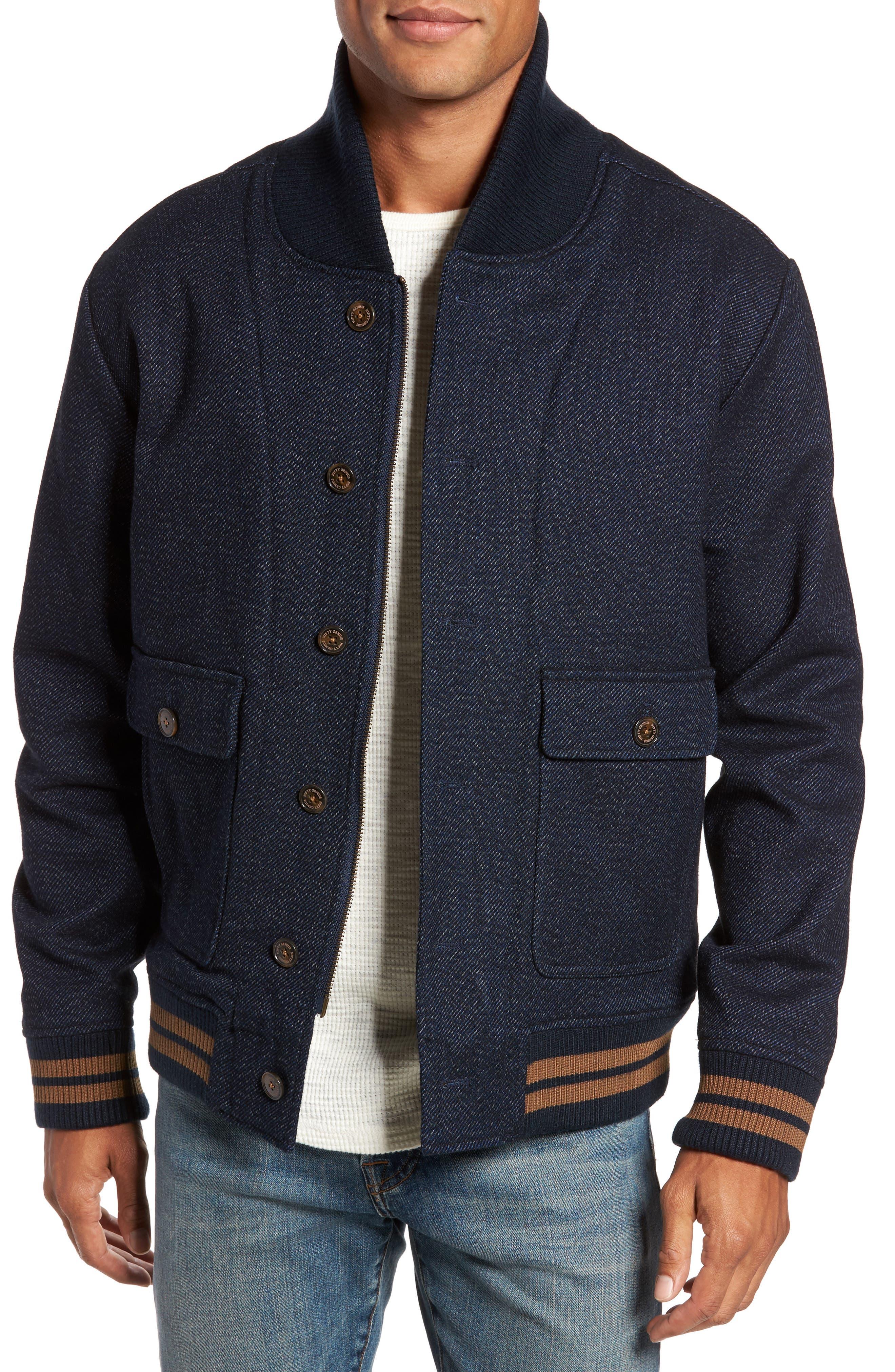 Roll Collar Varsity Jacket,                         Main,                         color, Indigo