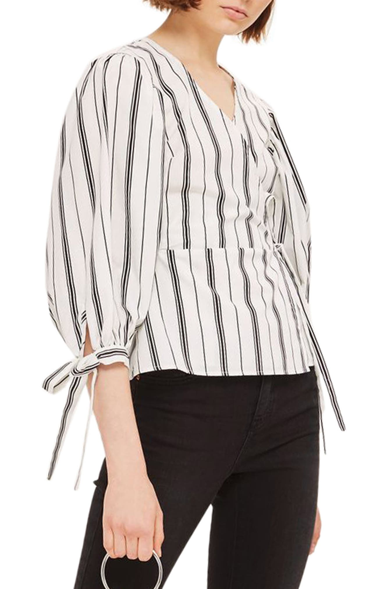 Topshop Balloon Sleeve Stripe Wrap Top