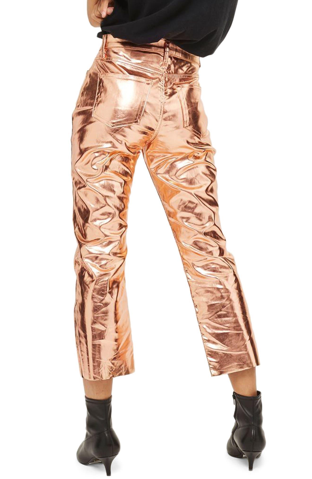 Dree Metallic Flare Jeans,                             Alternate thumbnail 3, color,                             Copper