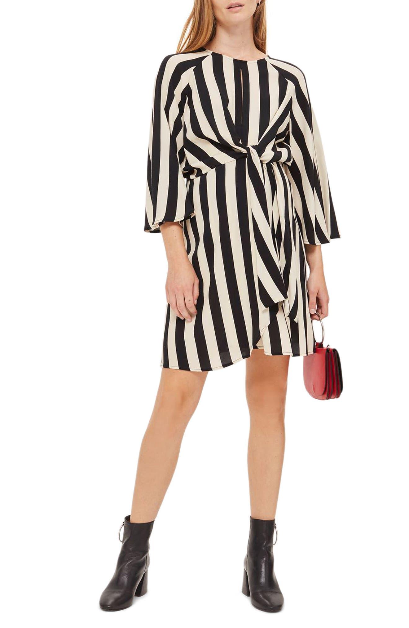 Humbug Stripe Knot Maternity Dress,                         Main,                         color, Ivory Multi