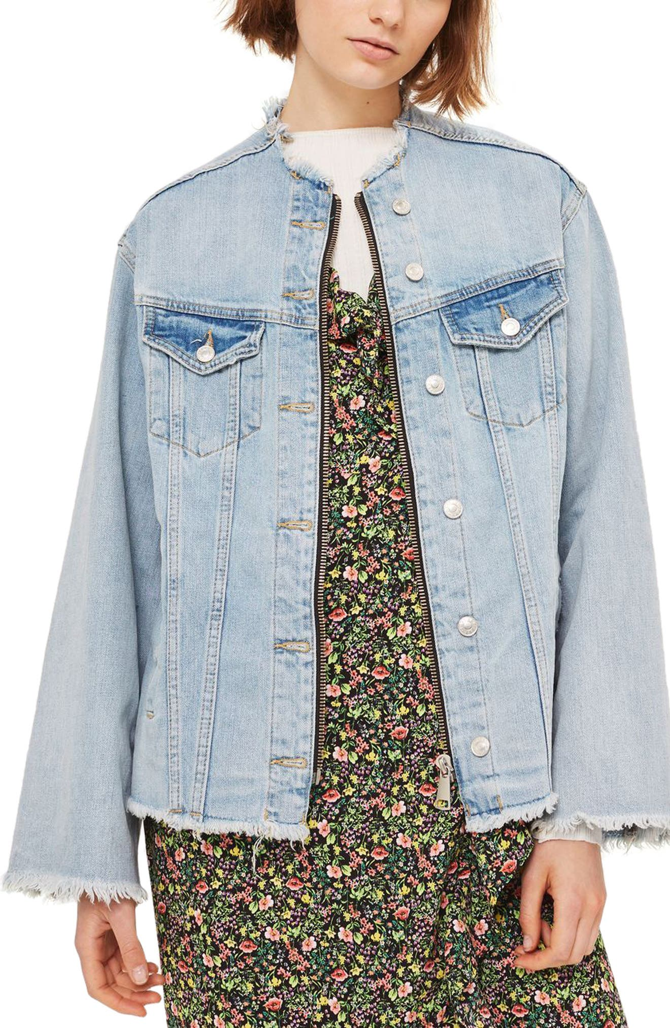 Zip Through Denim Jacket,                             Alternate thumbnail 3, color,                             Mid Denim