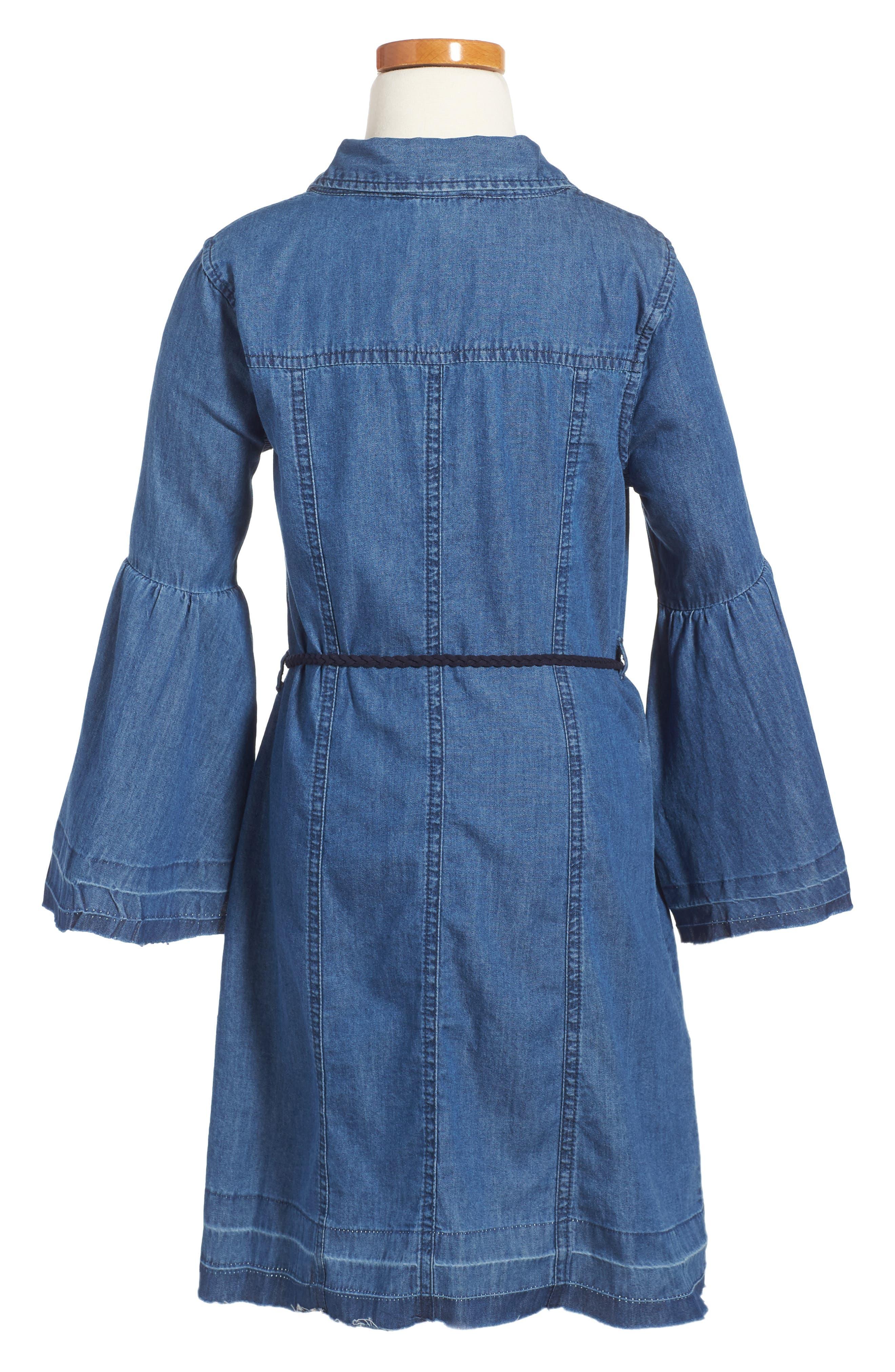 Alternate Image 2  - bebe Bell Sleeve Chambray Dress (Big Girls)