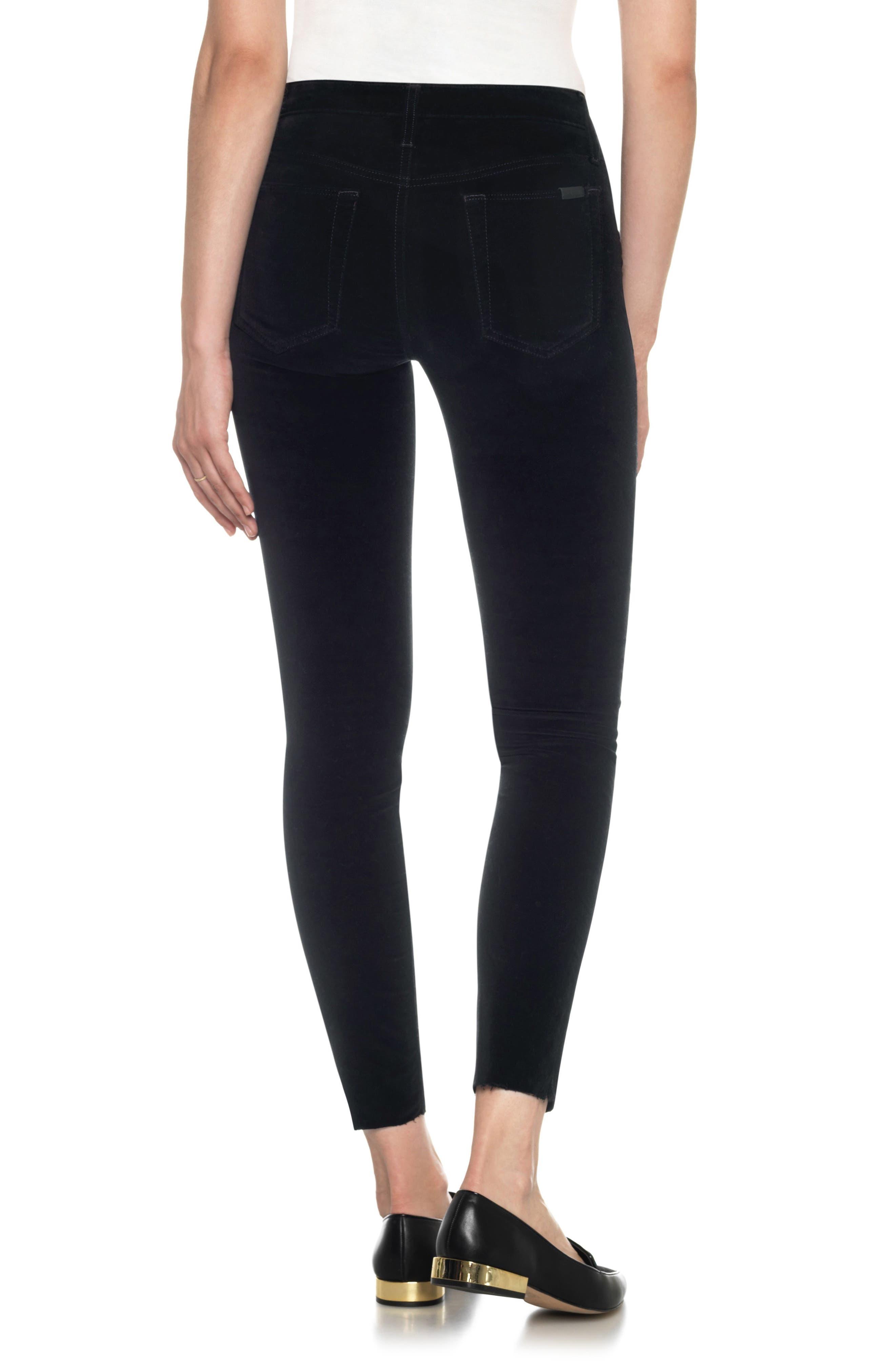 Icon Velvet Ankle Skinny Pants,                             Alternate thumbnail 2, color,                             Black Cat