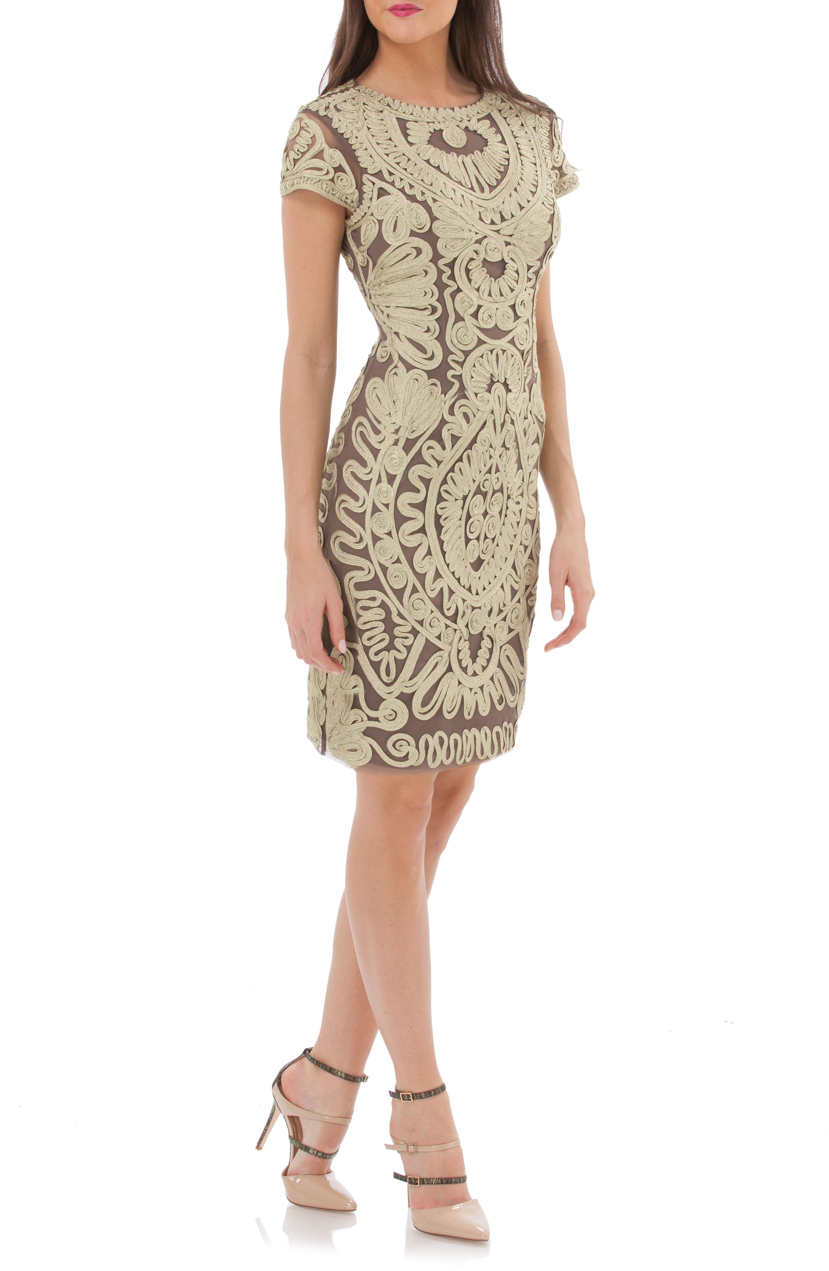 JS Collections Metallic Soutache Cocktail Dress