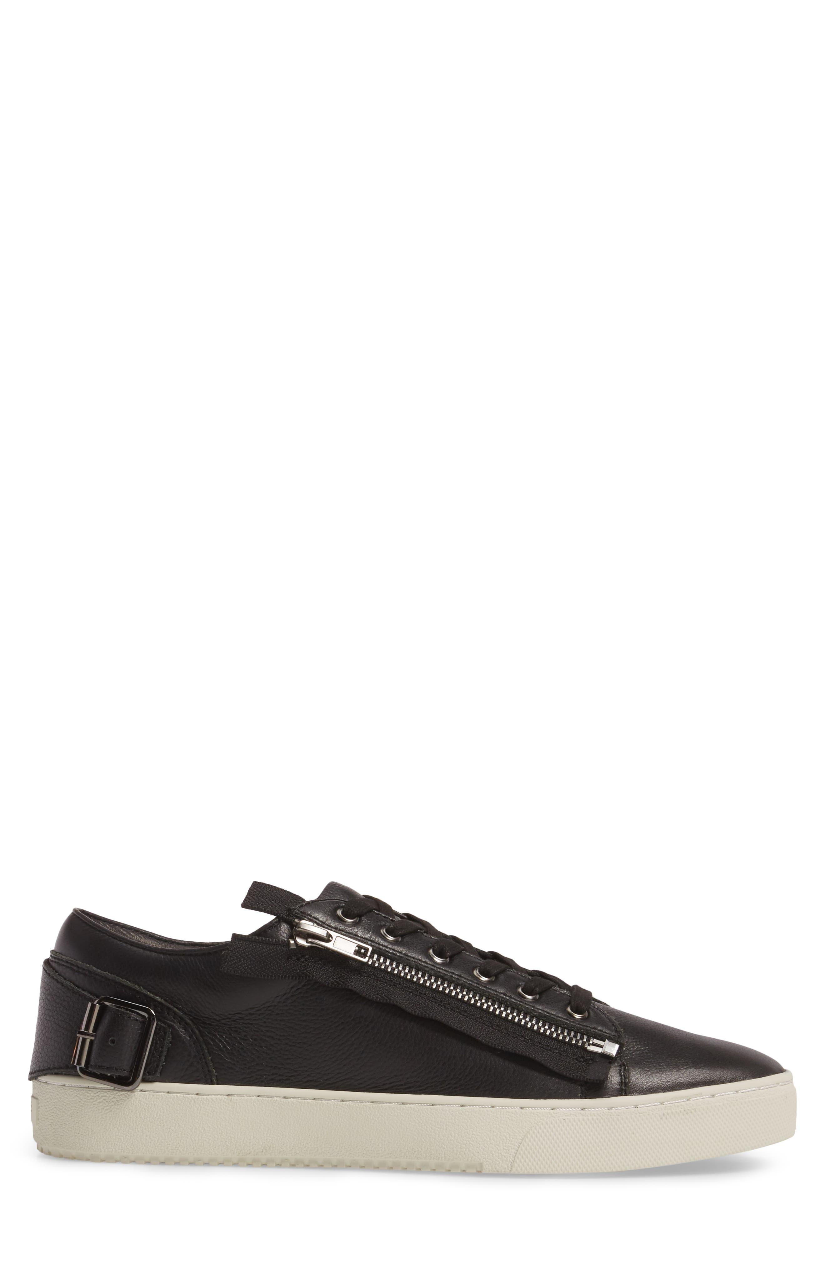 Wayne Sneaker,                             Alternate thumbnail 3, color,                             Black Leather