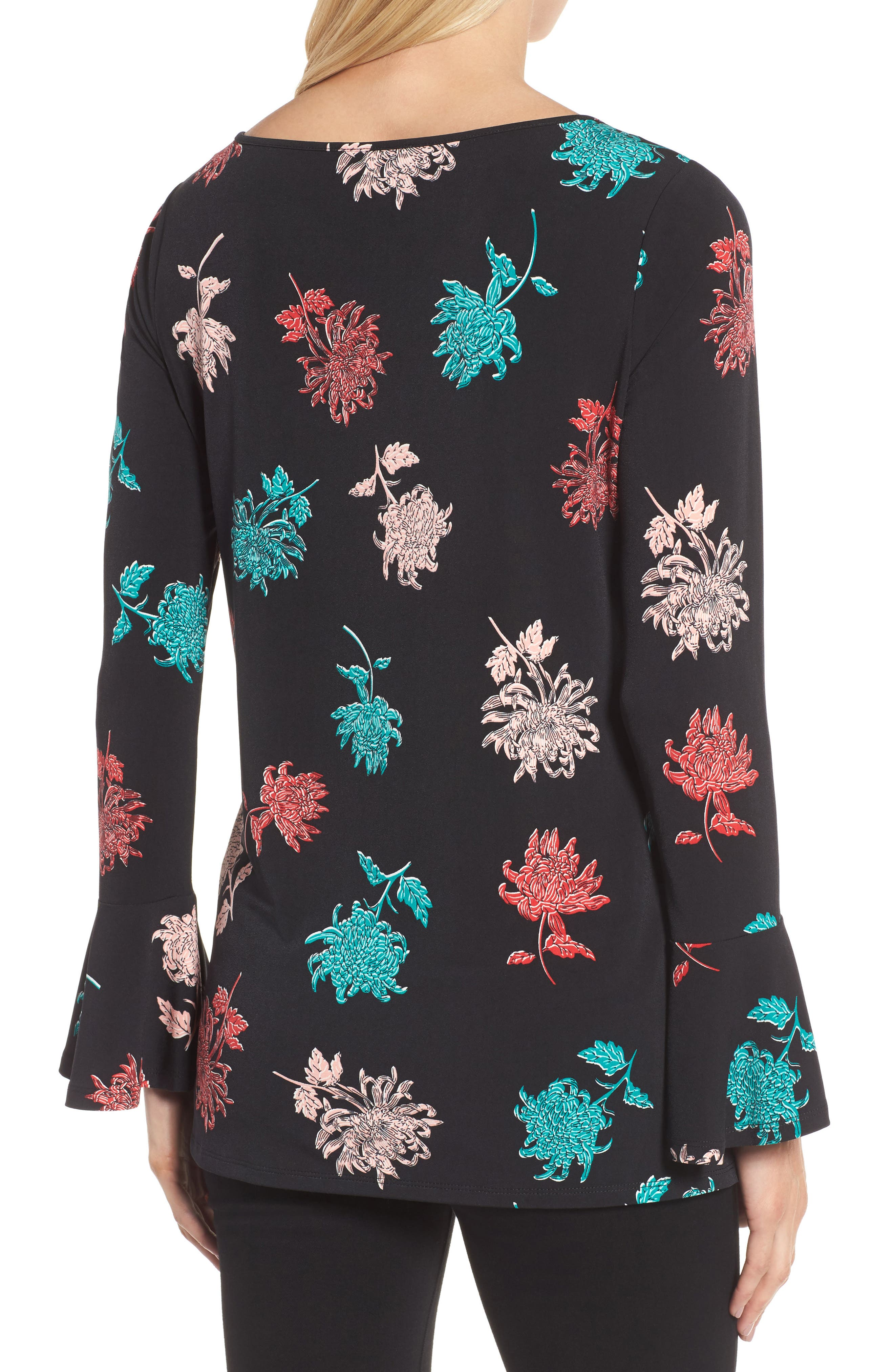Bell Sleeve Imperial Bloom Top,                             Alternate thumbnail 2, color,                             Rich Black