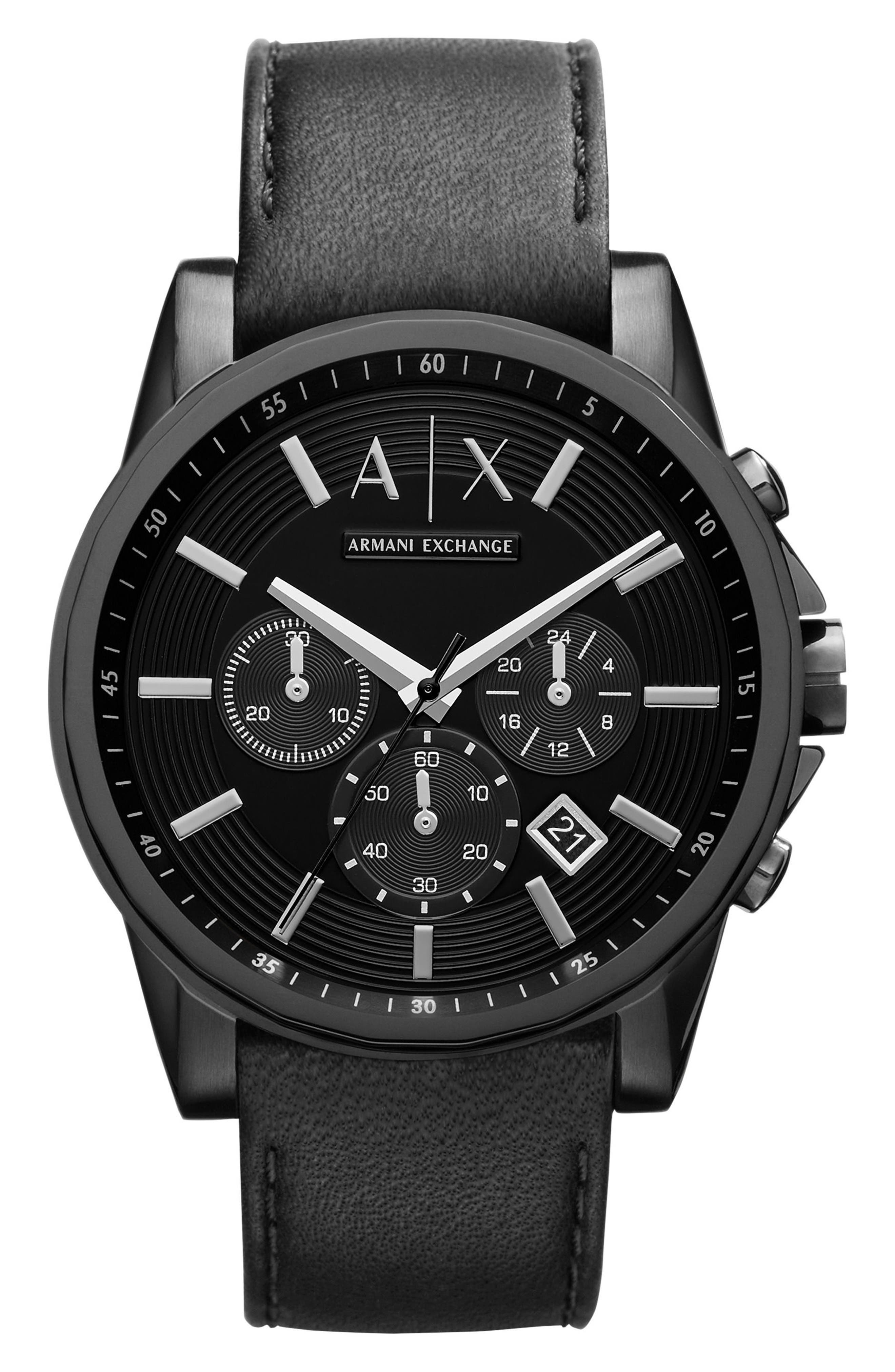 Chronograph Leather Strap Watch,                         Main,                         color, Black