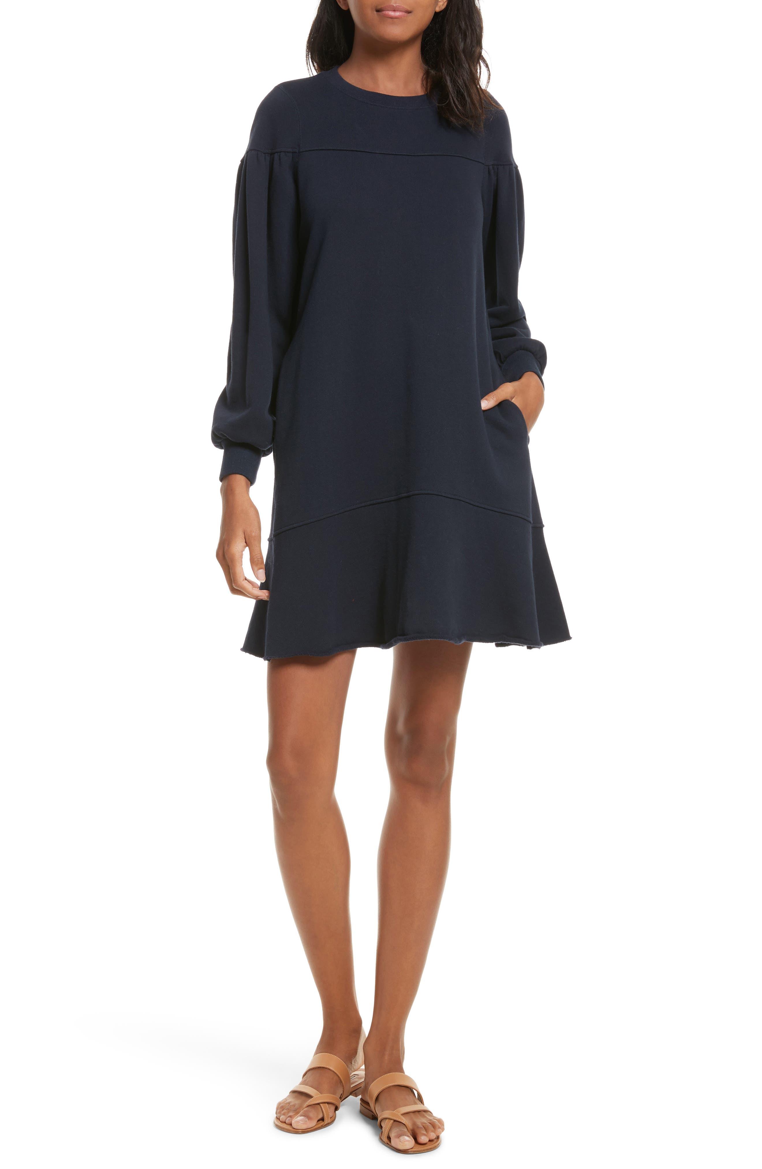 Long Sleeve Fleece Dress,                         Main,                         color, Navy