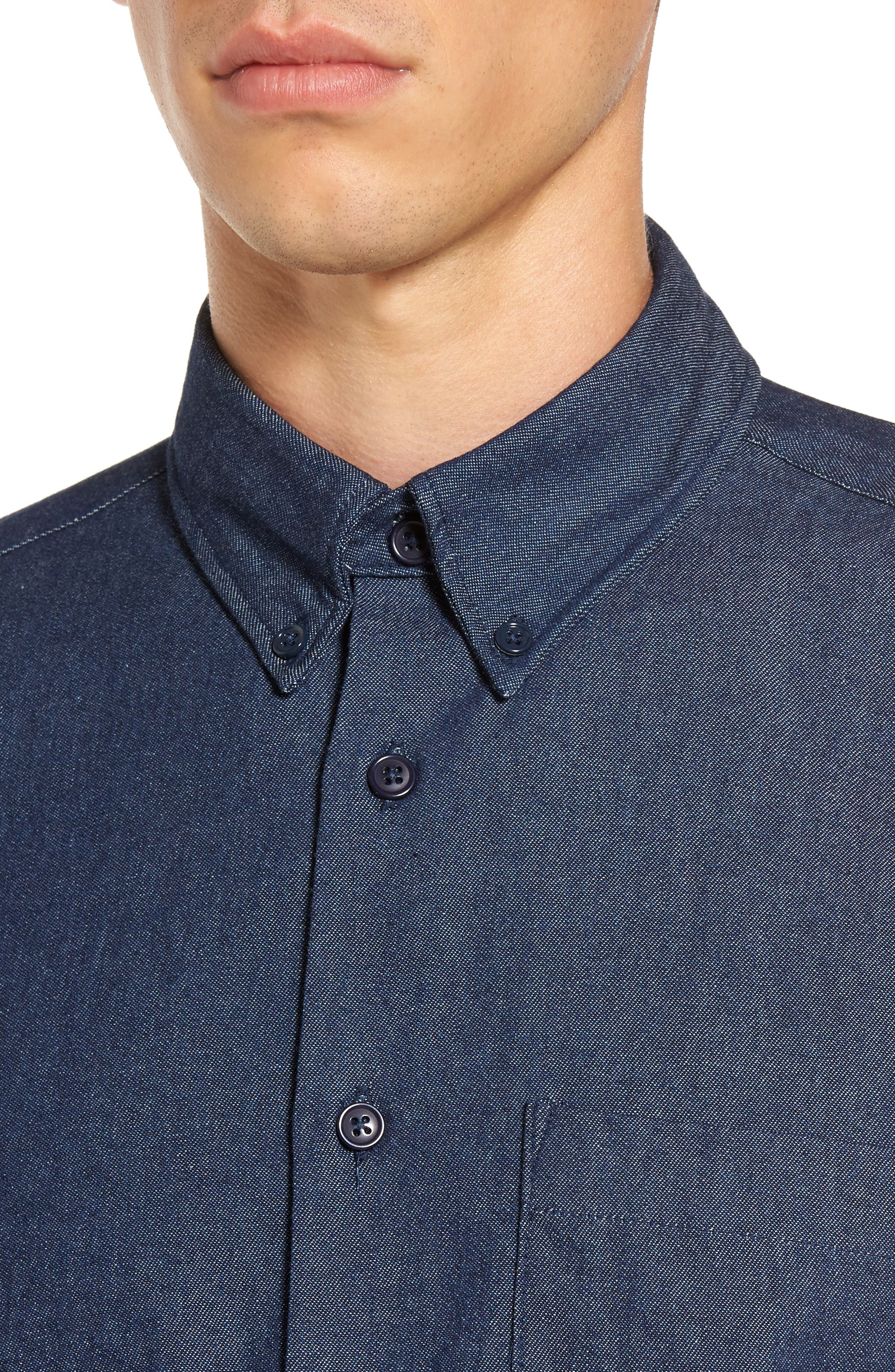 Indigo Long Sleeve Shirt,                             Alternate thumbnail 4, color,                             Indigo