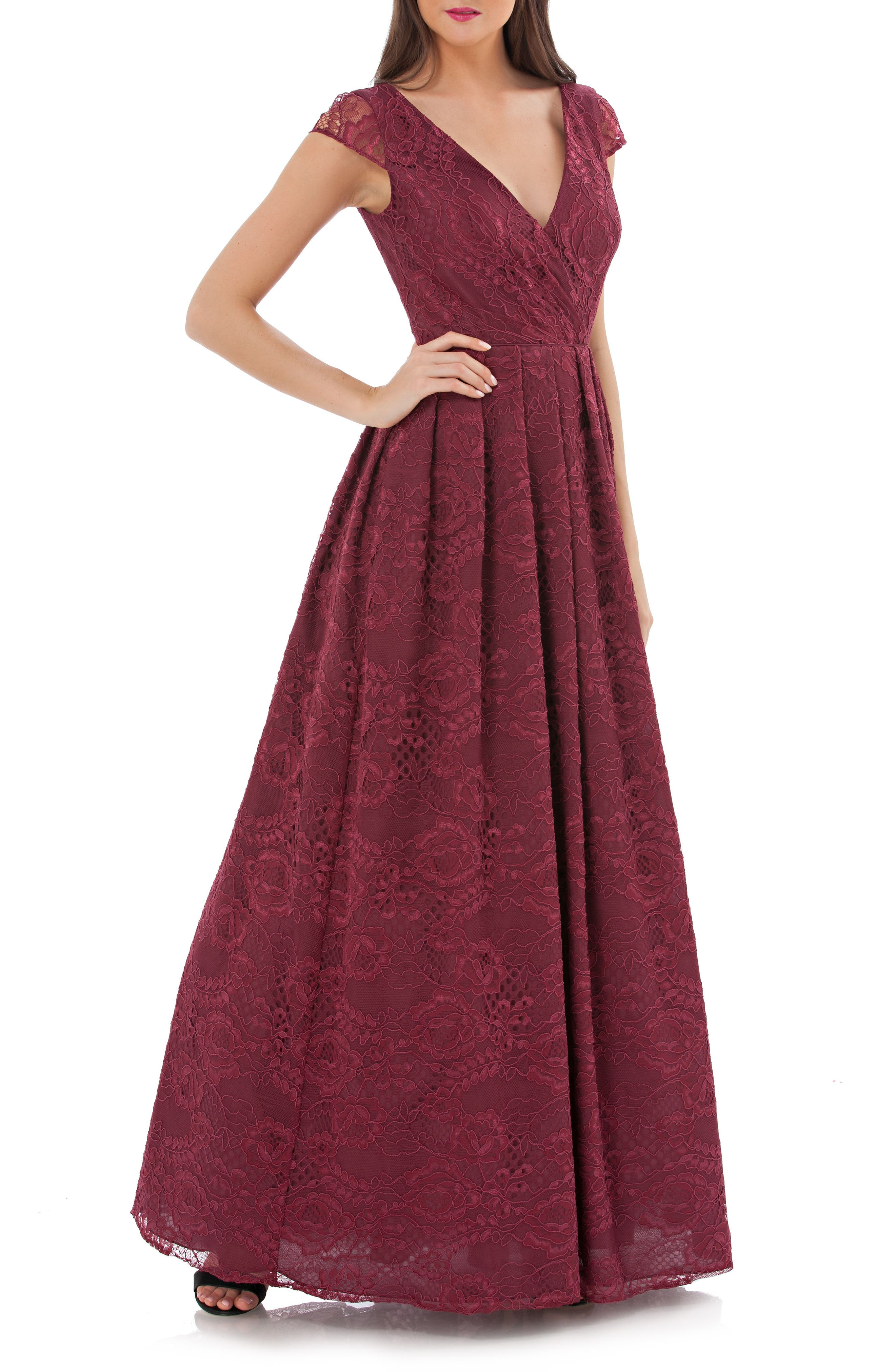 Embroidered Lace Ballgown,                         Main,                         color, Wine