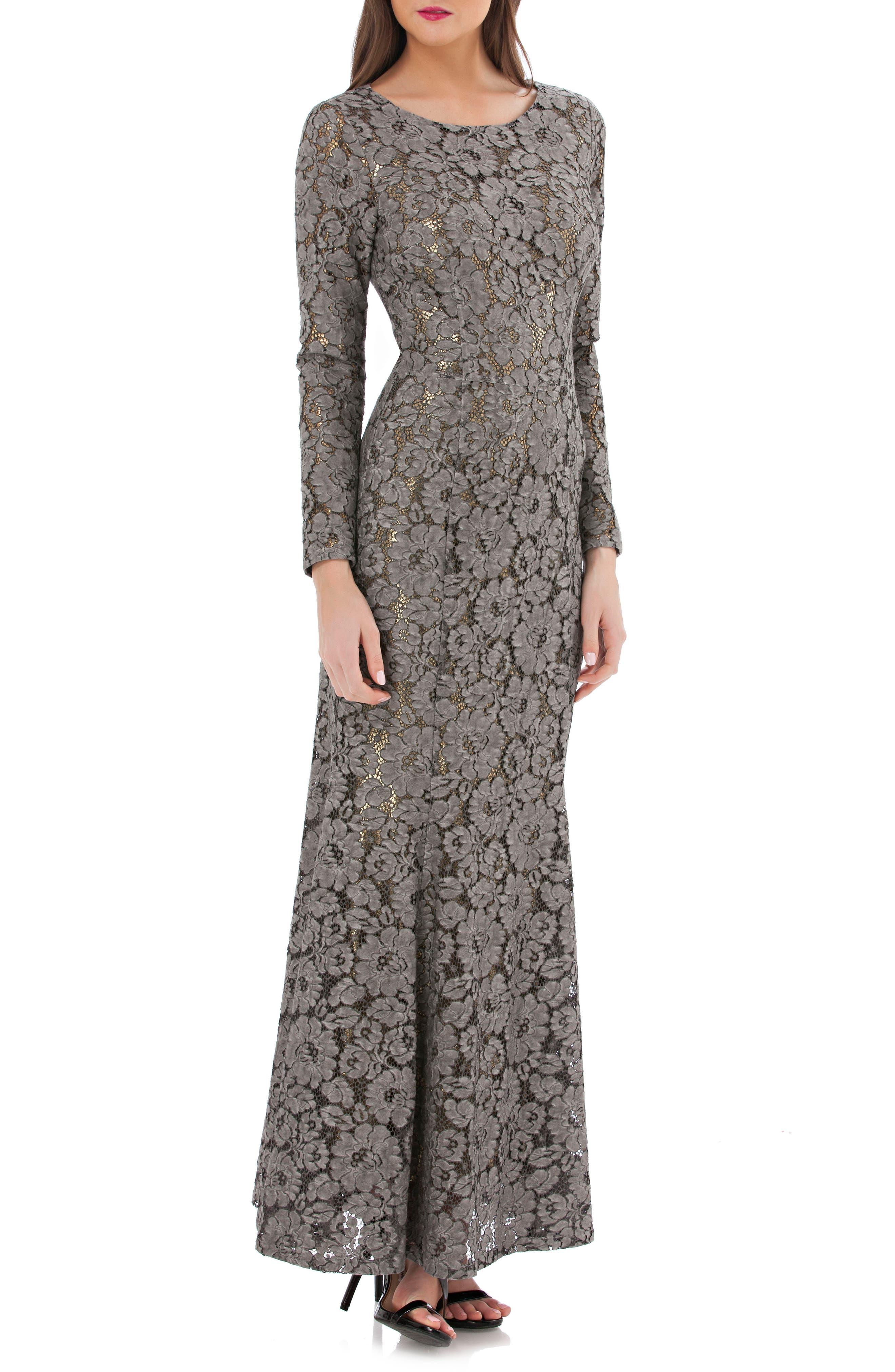 Open Back Lace Gown,                         Main,                         color, Black/ Gold