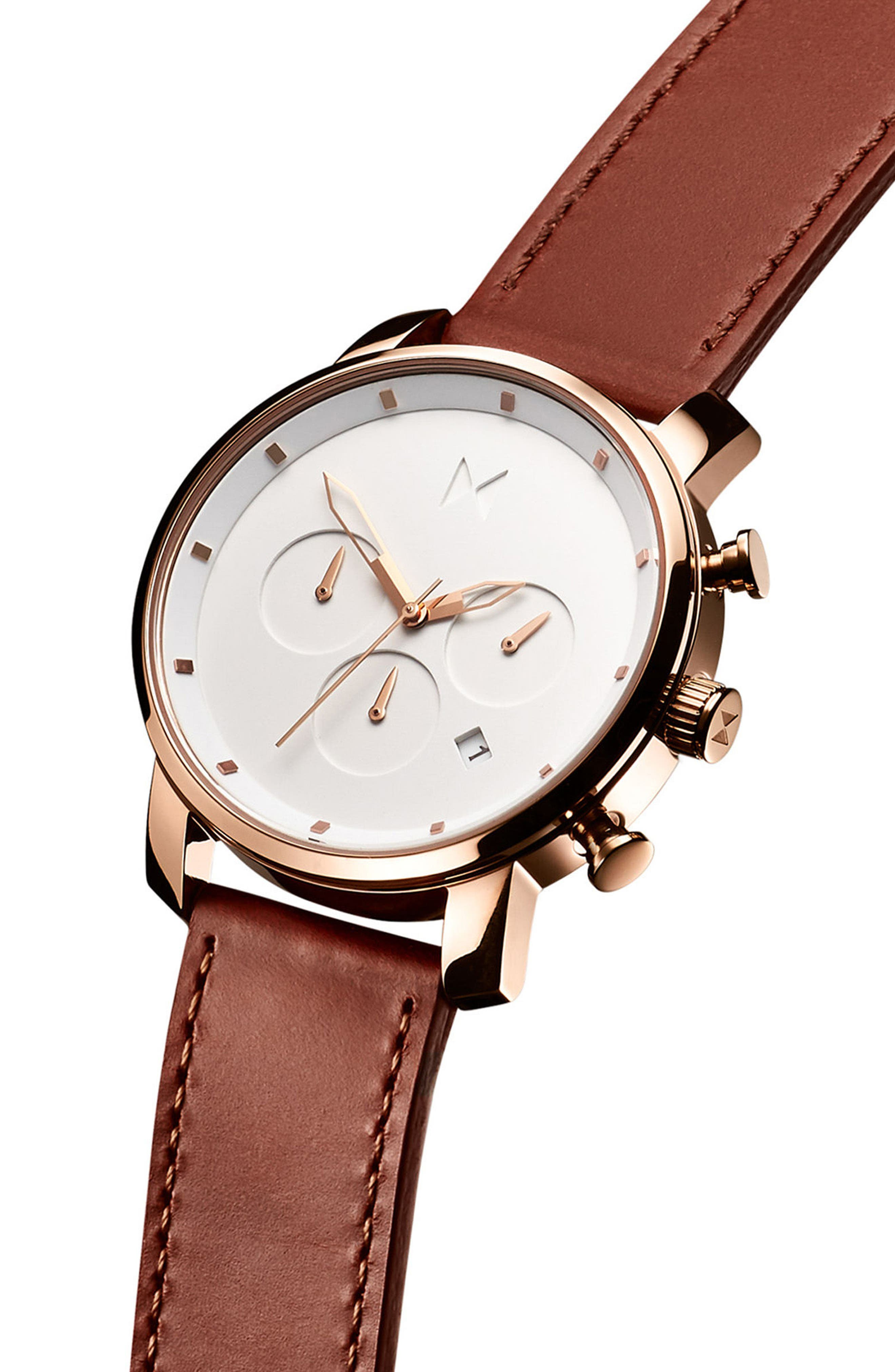 The Chrono Chronograph Leather Strap Watch, 40mm,                             Alternate thumbnail 3, color,                             White/ Natural
