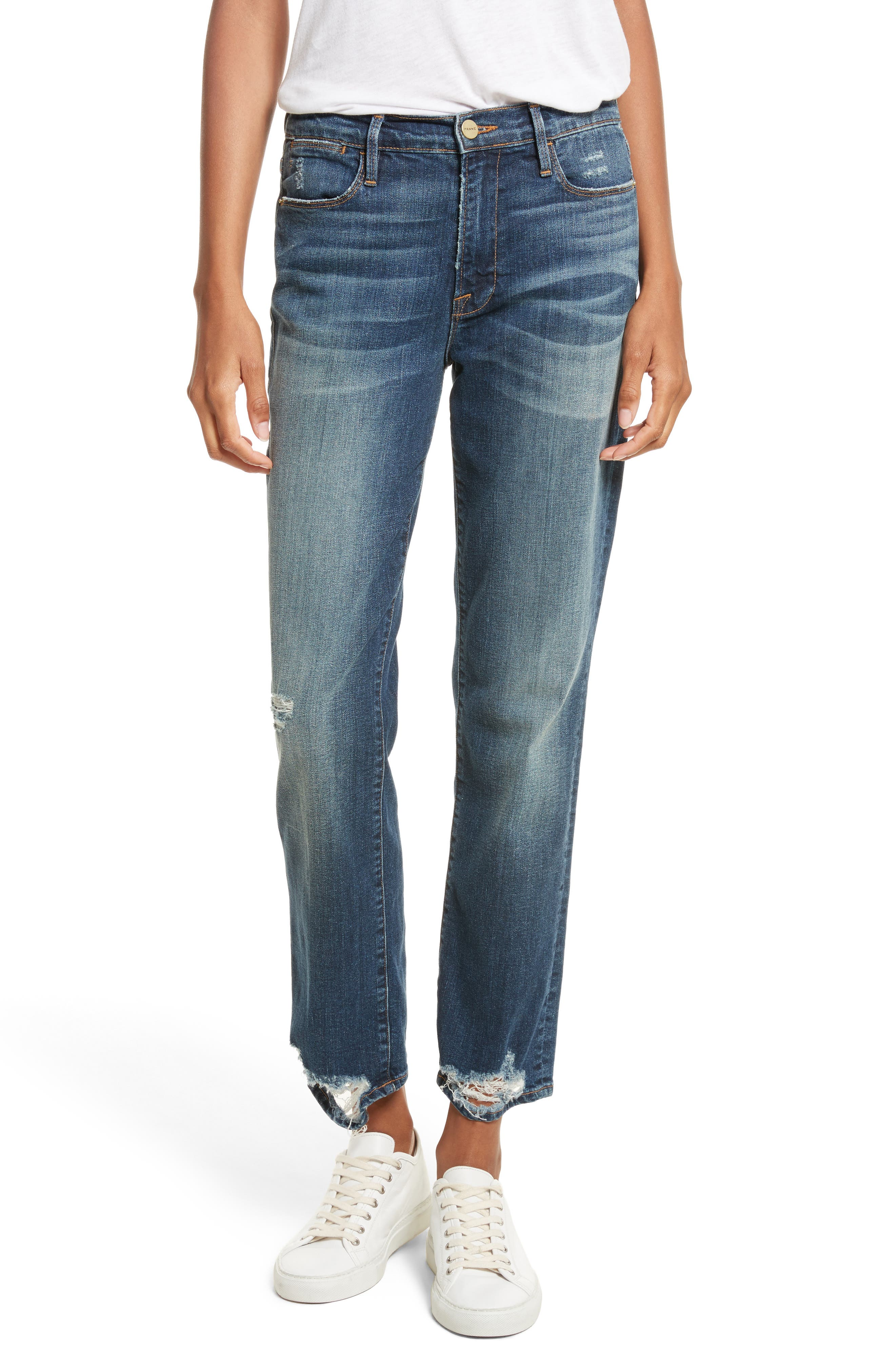 Alternate Image 1 Selected - FRAME Le High Straight High Rise Jeans (Randolph)