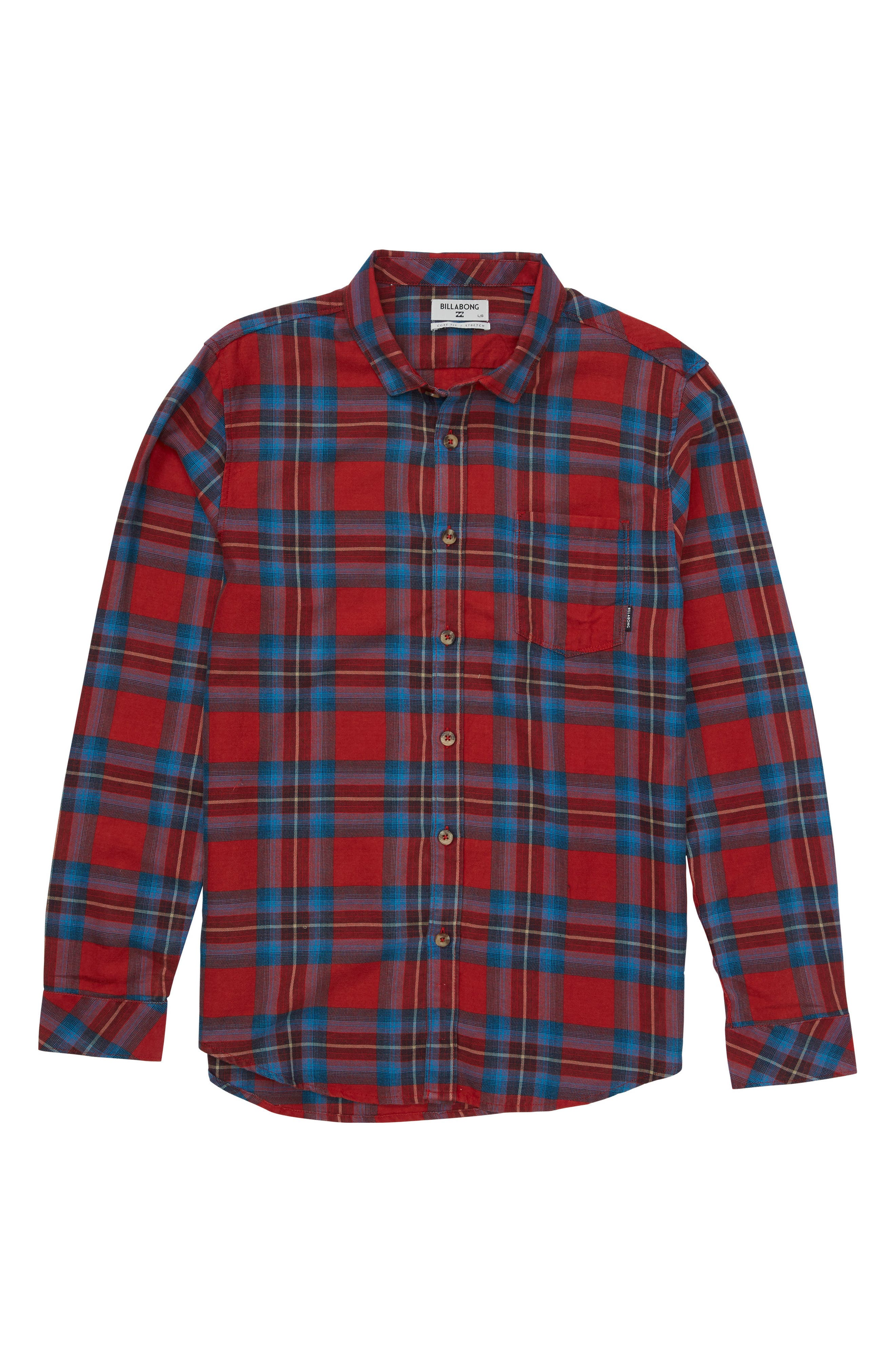 Freemont Plaid Flannel Shirt,                         Main,                         color, Red