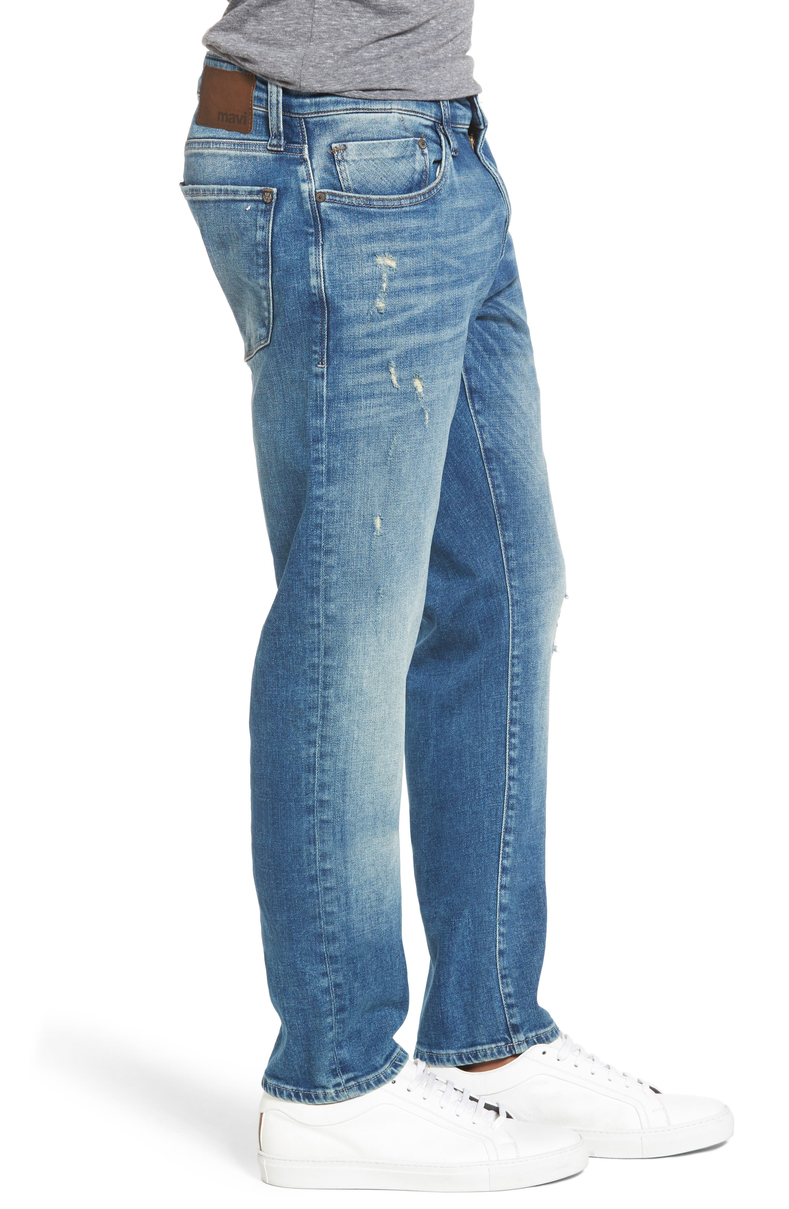 Alternate Image 3  - Mavi Jeans Jake Easy Slim Fit Jeans (Mid Ripped Authentic Vintage)