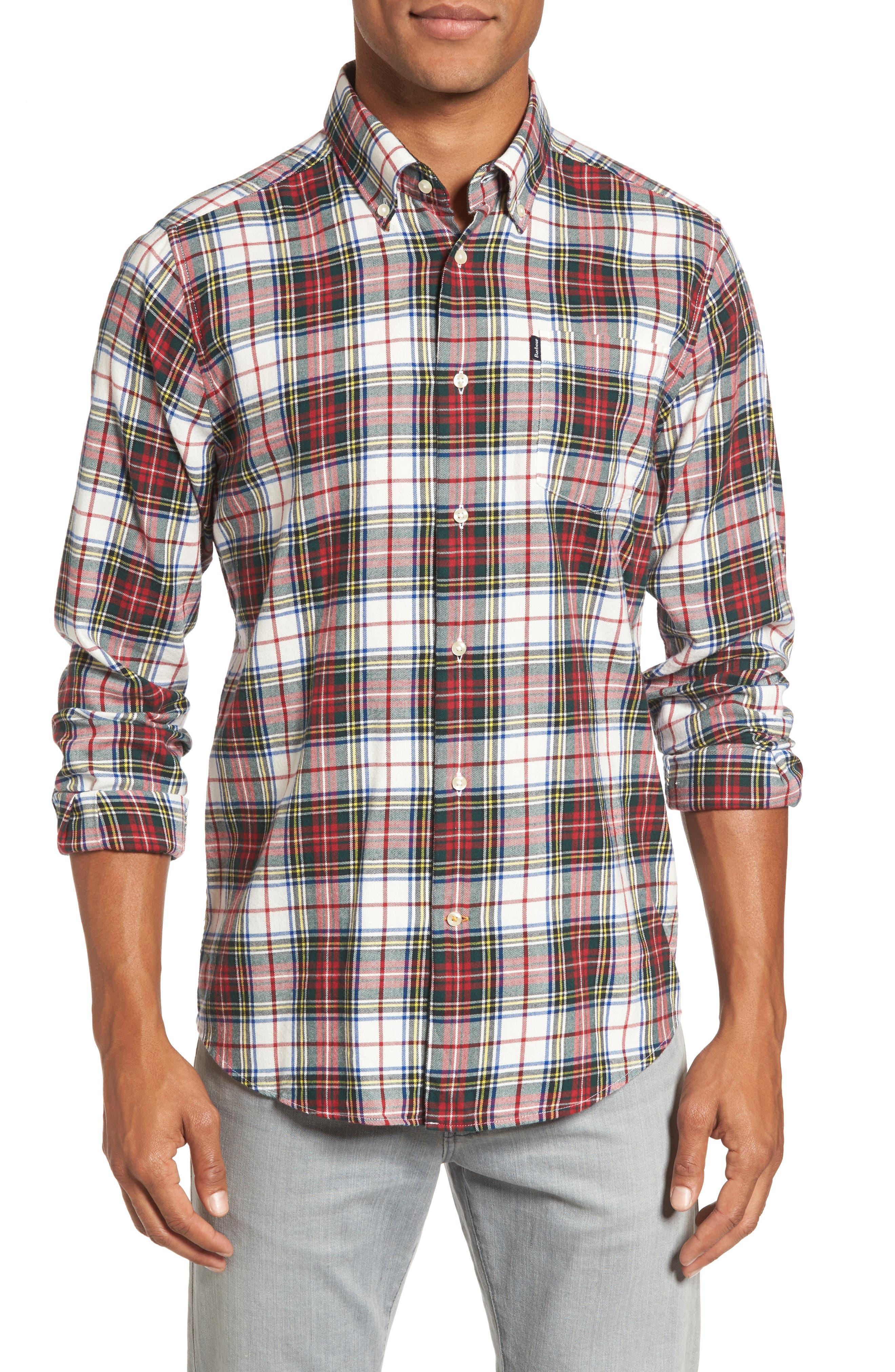 Alvin Tailored Fit Plaid Sport Shirt,                         Main,                         color, White