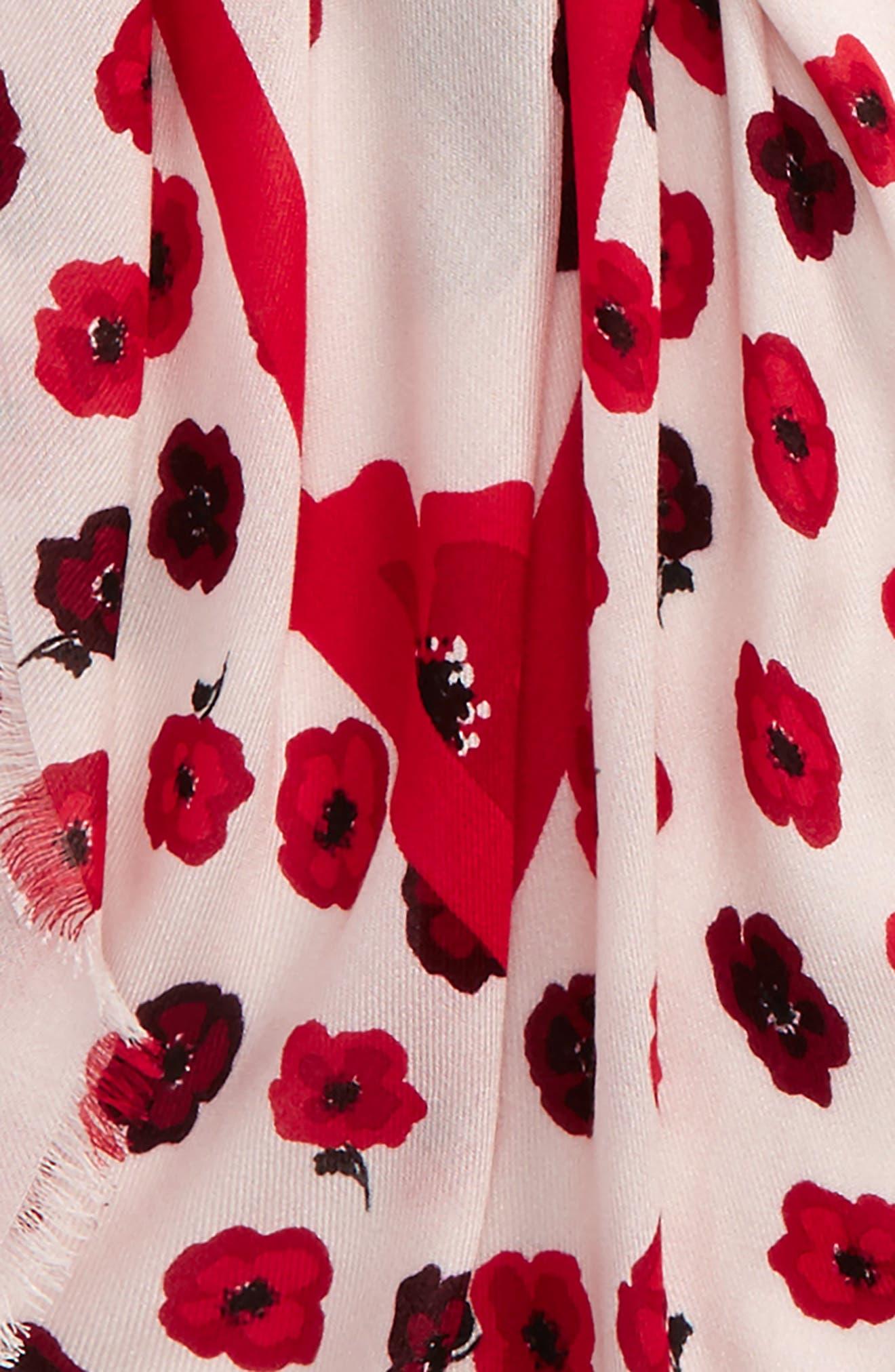falling poppy scarf,                             Alternate thumbnail 3, color,                             Rose
