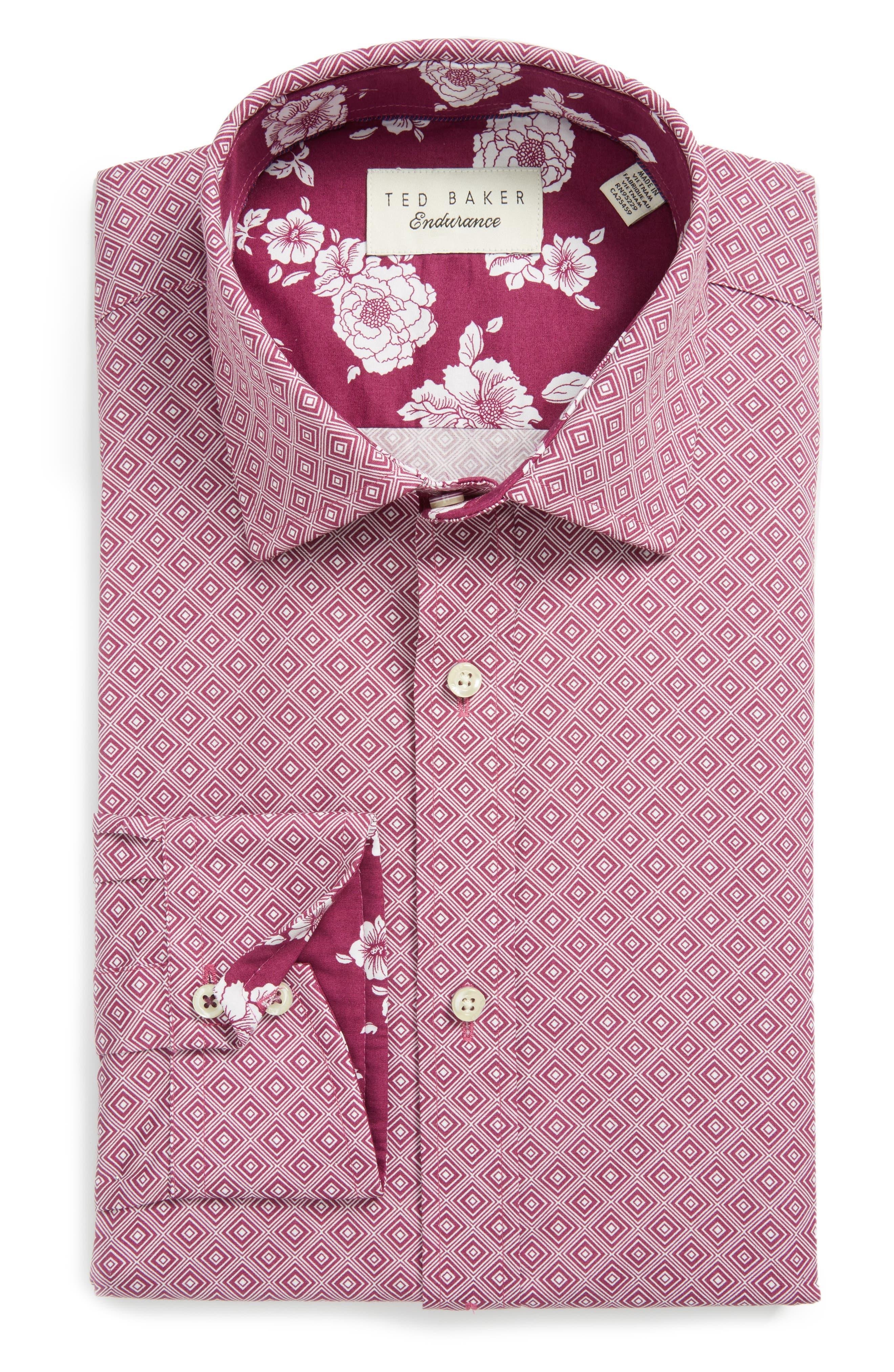 Endurance Trim Fit Dress Shirt,                         Main,                         color, Pink