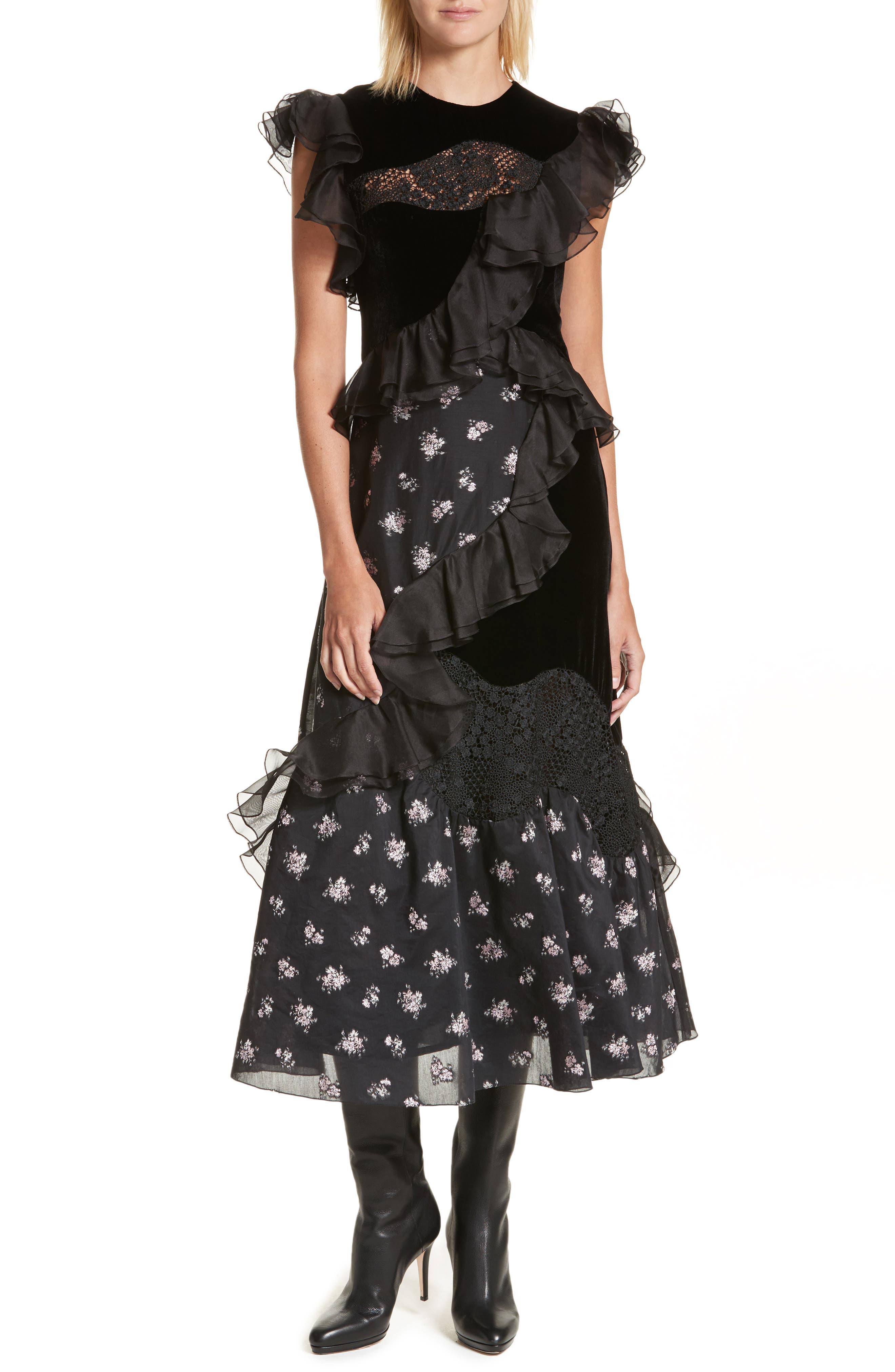 Velvet Floral Jacquard Midi Dress,                         Main,                         color, Black