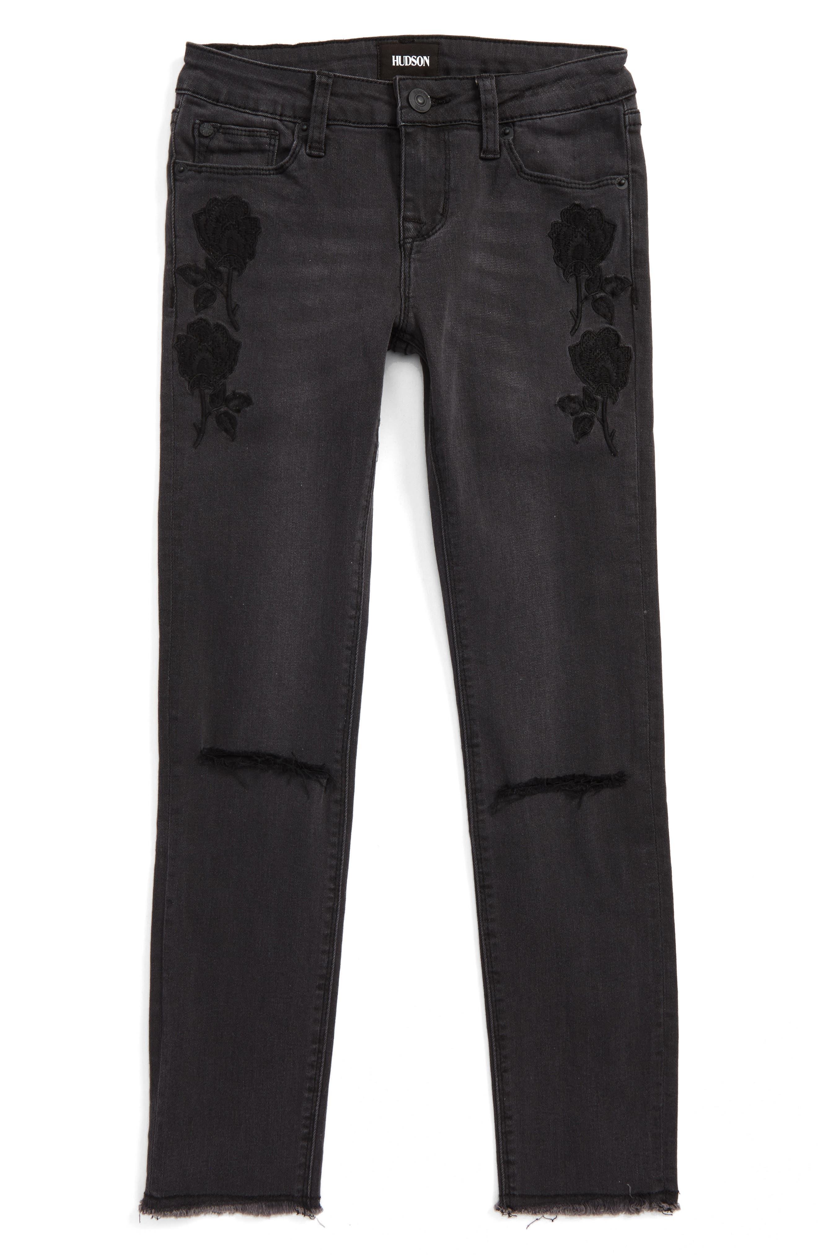 Alternate Image 1 Selected - Hudson Kids Black Iris Skinny Jeans (Big Girls)