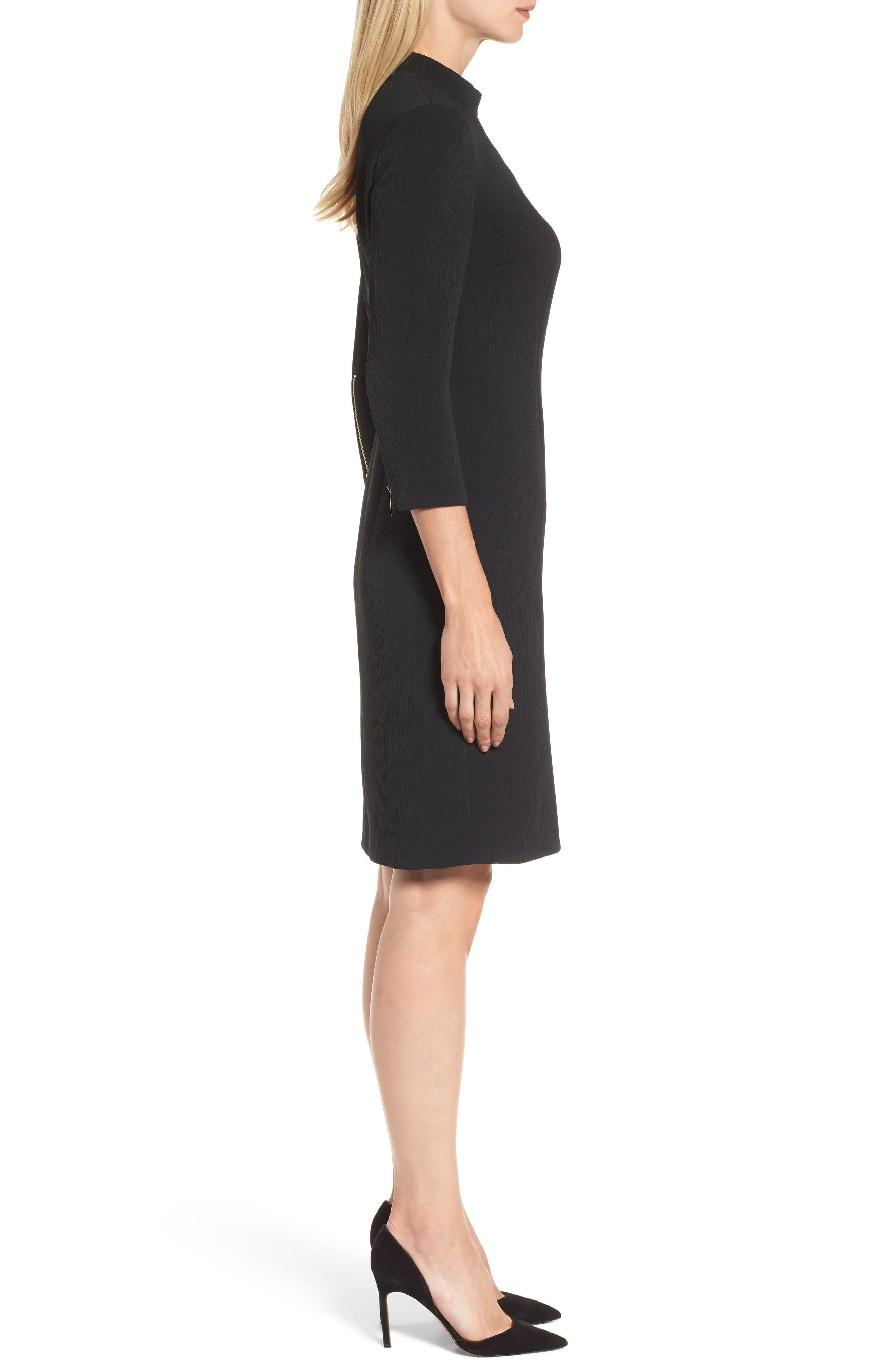 Dadena Crepe Sheath Dress,                             Alternate thumbnail 3, color,                             Black