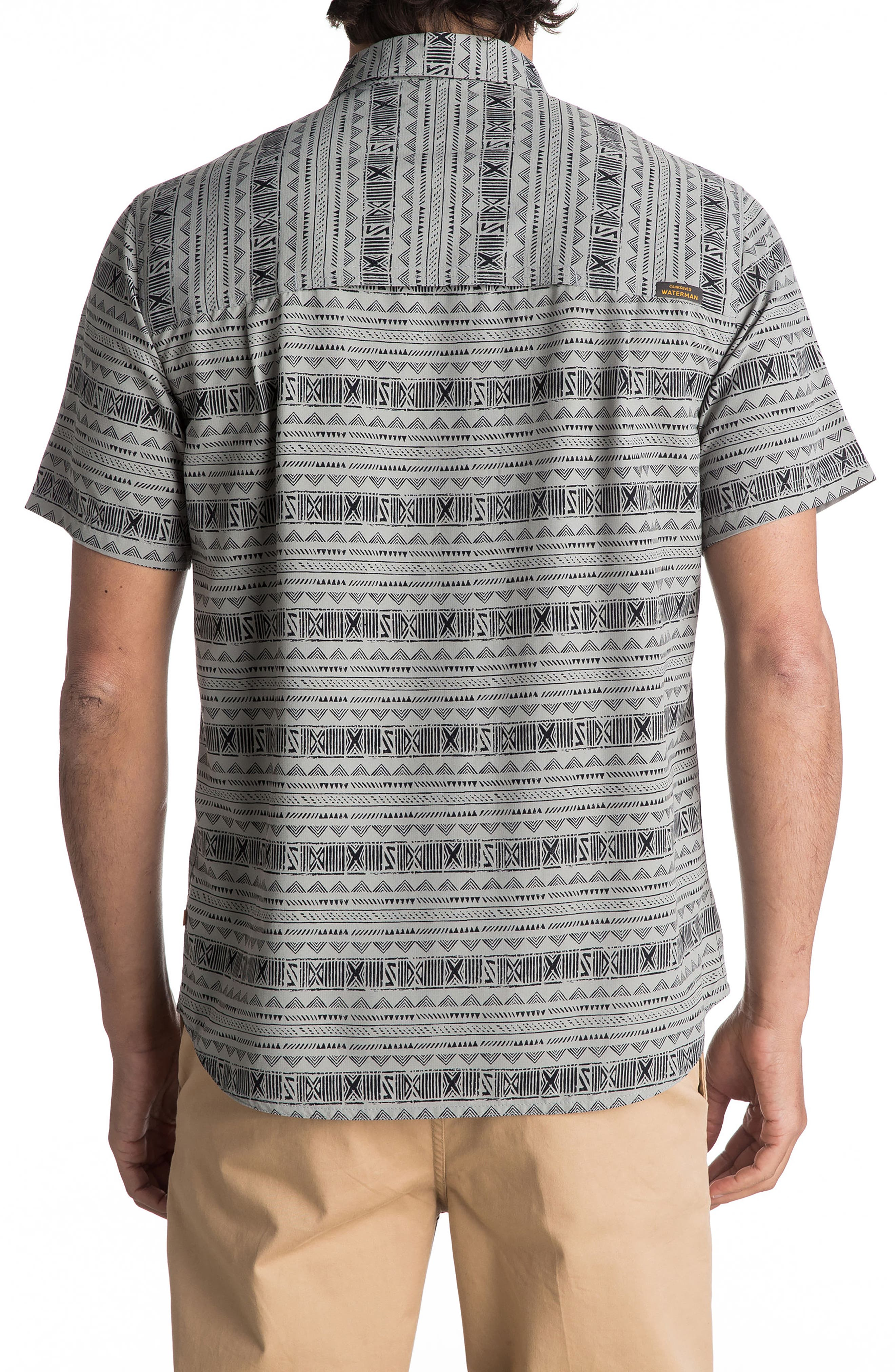 Wake Koro Geo Print Woven Shirt,                             Alternate thumbnail 2, color,                             Frost Grey