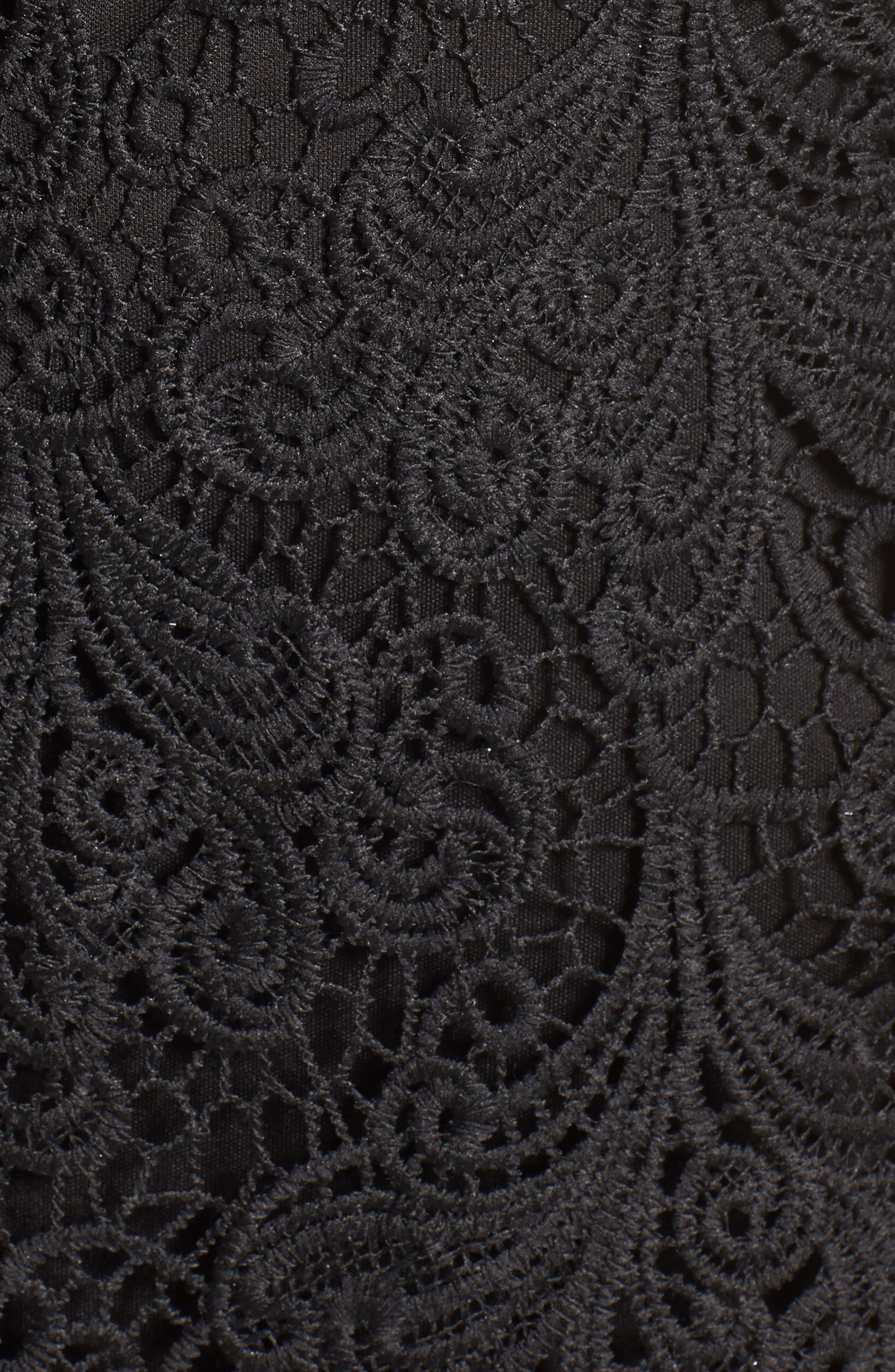 Lace Midi Dress,                             Alternate thumbnail 5, color,                             Black