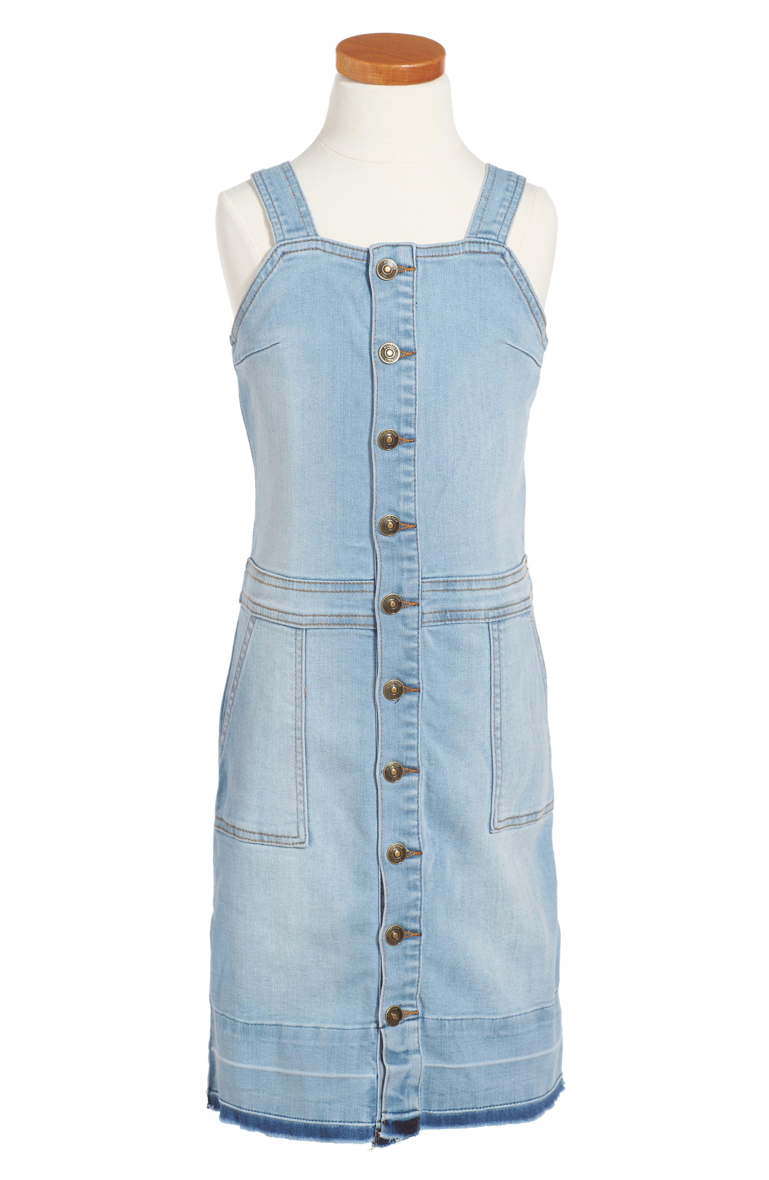 Kelly Denim Overall Dress,                             Main thumbnail 1, color,                             Vintage Blue